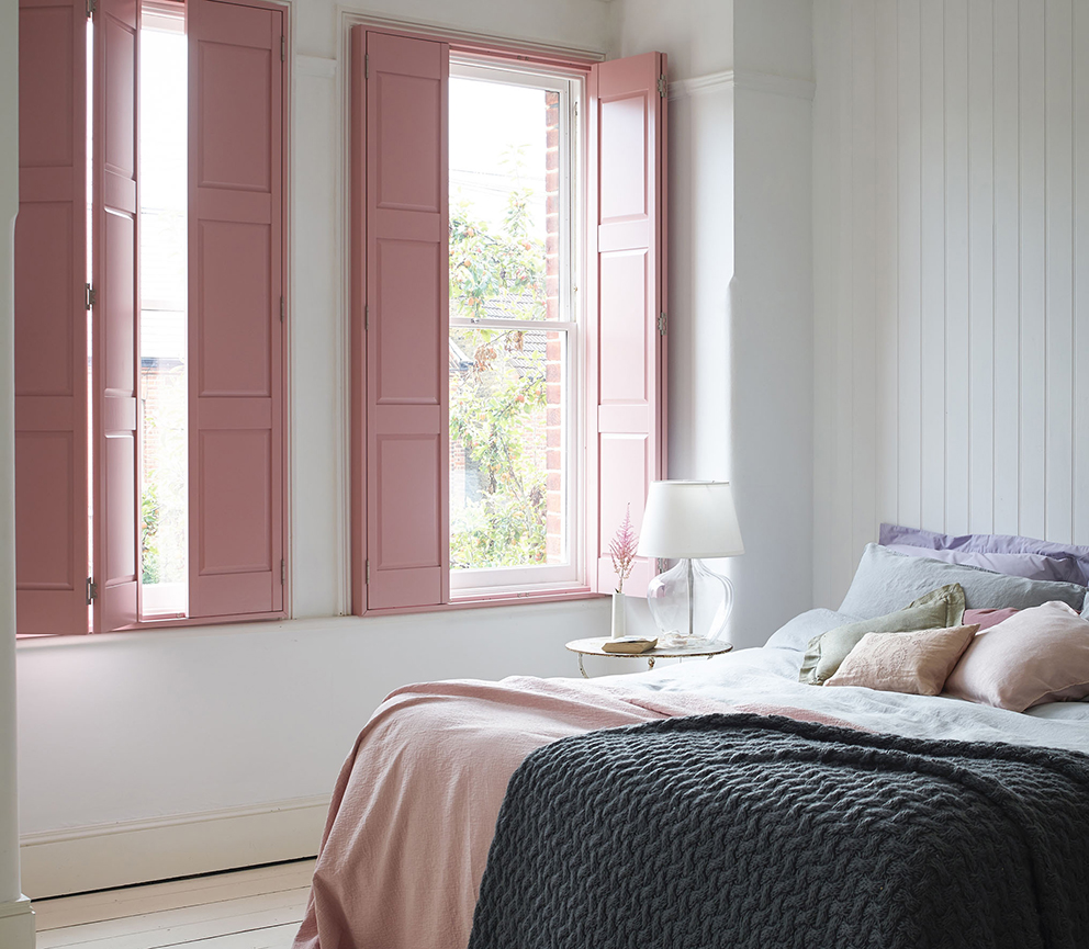 Shutterly Fabulous - French For Pineapple Blog - solid pink shutters in bedroom setting