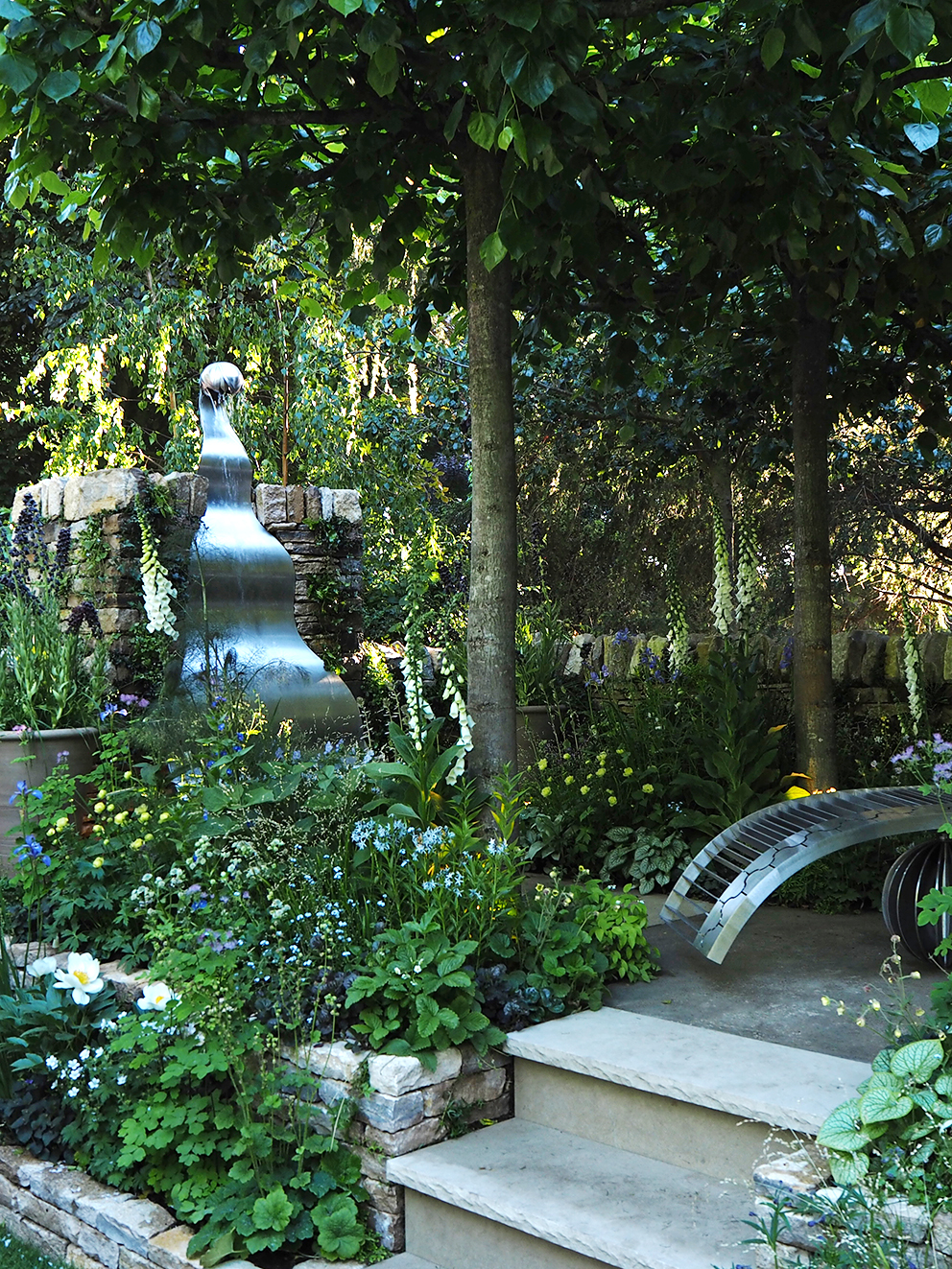 French For Pineapple Blog - RHS Chelsea Flower Show 2017 - Metal Water Feature in Wild Garden
