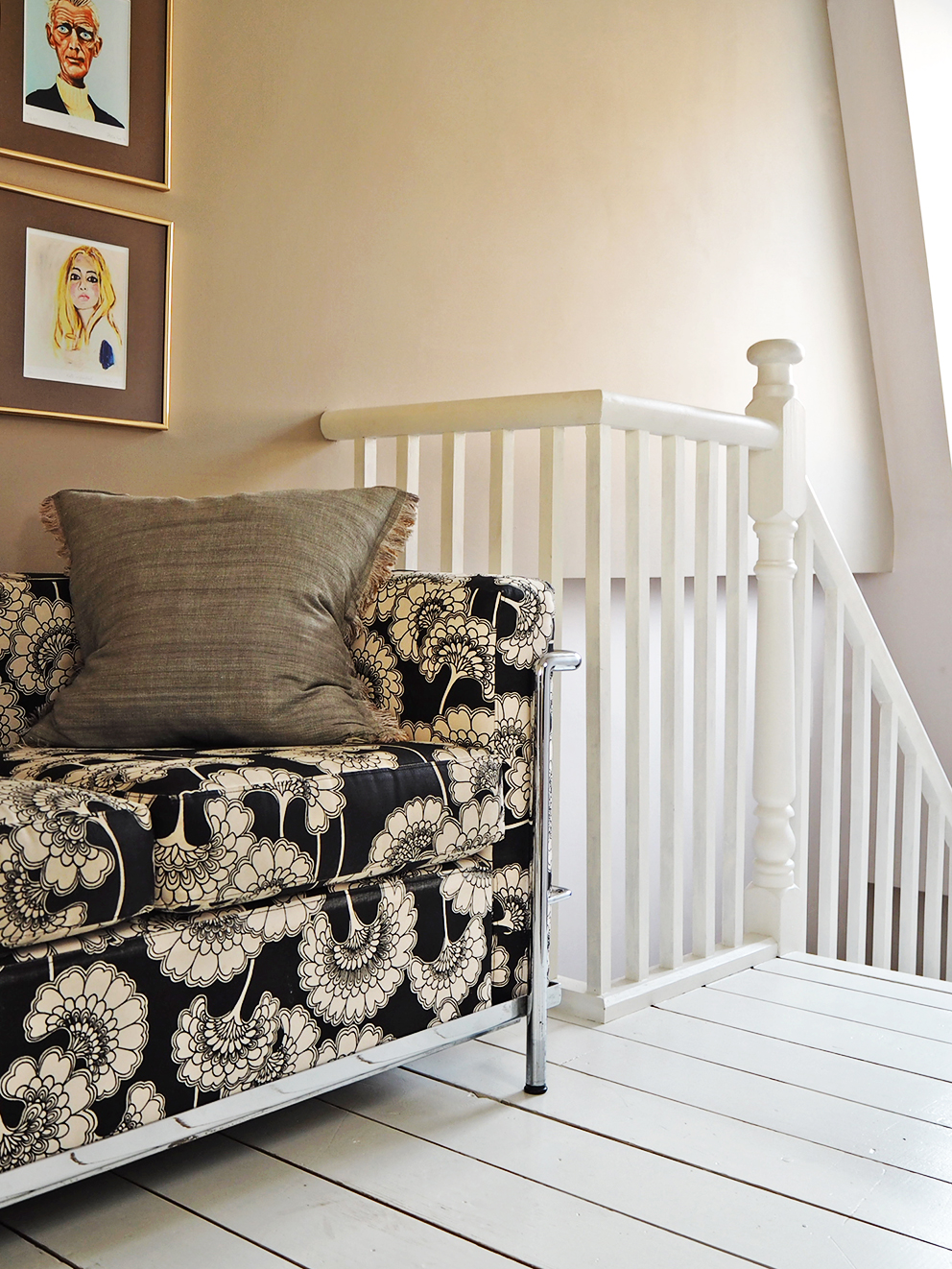 French For Pineapple Blog - Discovering Sanderson Paint - Sofa on landing near stairs with gallery wall painted in Beech Grey