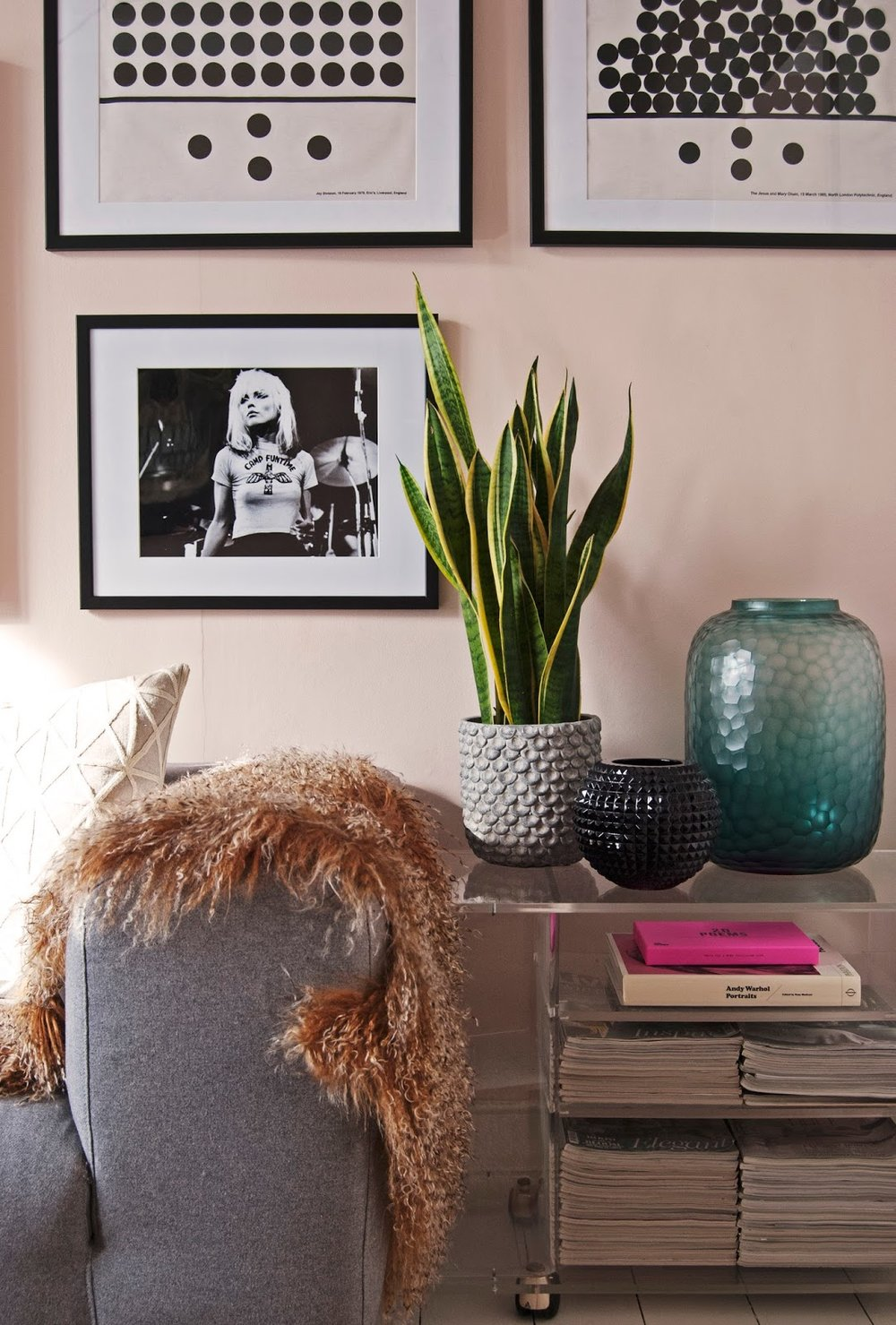 Amara Shoppable Home Inspiration Pages - French For Pineapple Blog - blush pink walls pink ground farrow and ball monochrome framed prints, snake plant and sheepskin