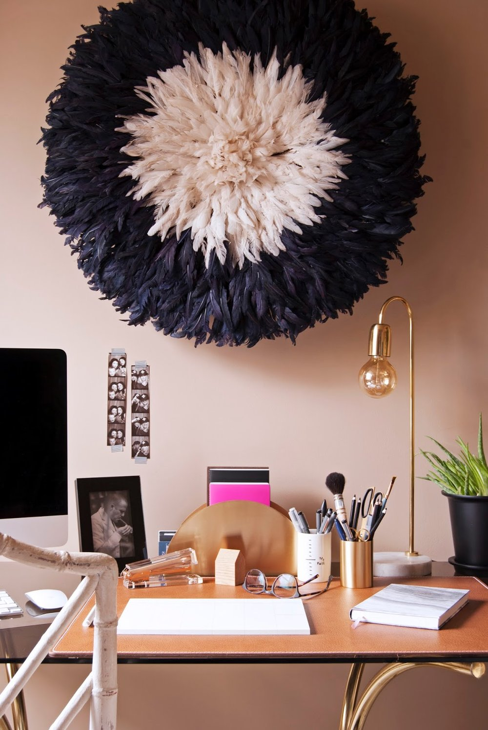 Amara Shoppable Home Inspiration Pages - French For Pineapple Blog - office desk with tan walls, juju hat and gold desk accessories