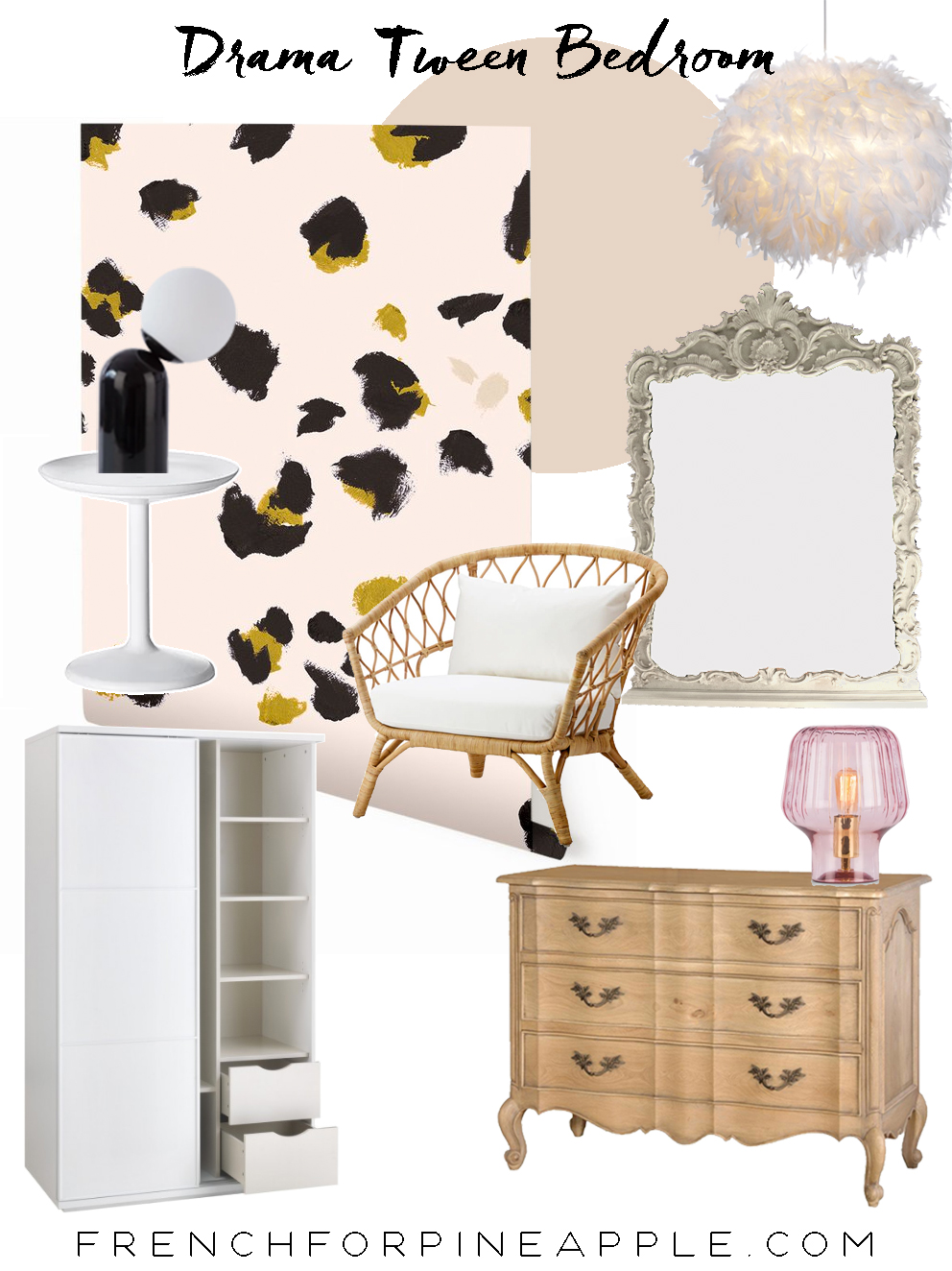 French For Pineapple - Drama Tween Bedroom Makeover - Moodboard