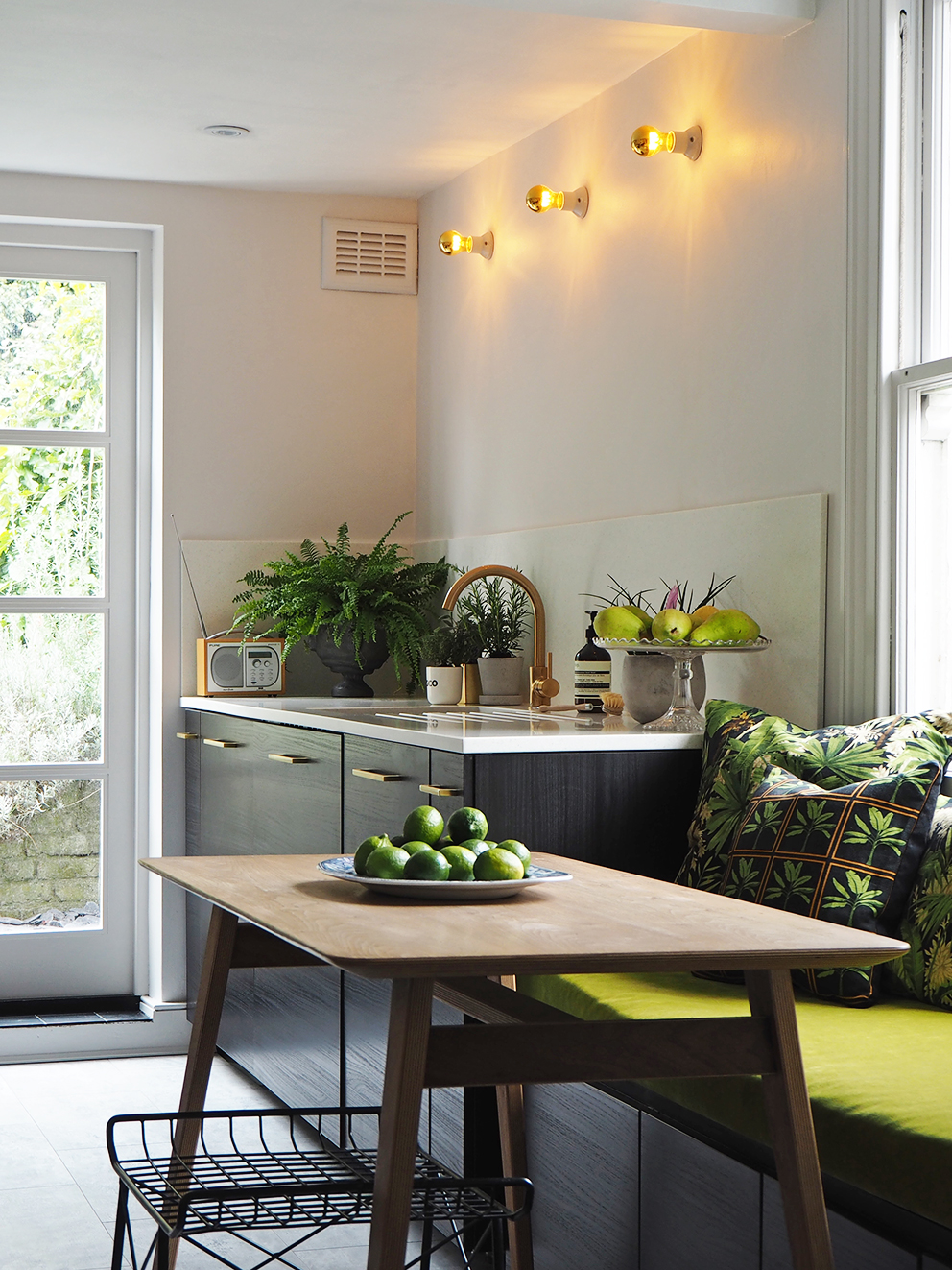 French For Pineapple Blog - kitchen refit with cool contemporary lighting, gold tap and flecked Mistral Mist worksurface and splashback