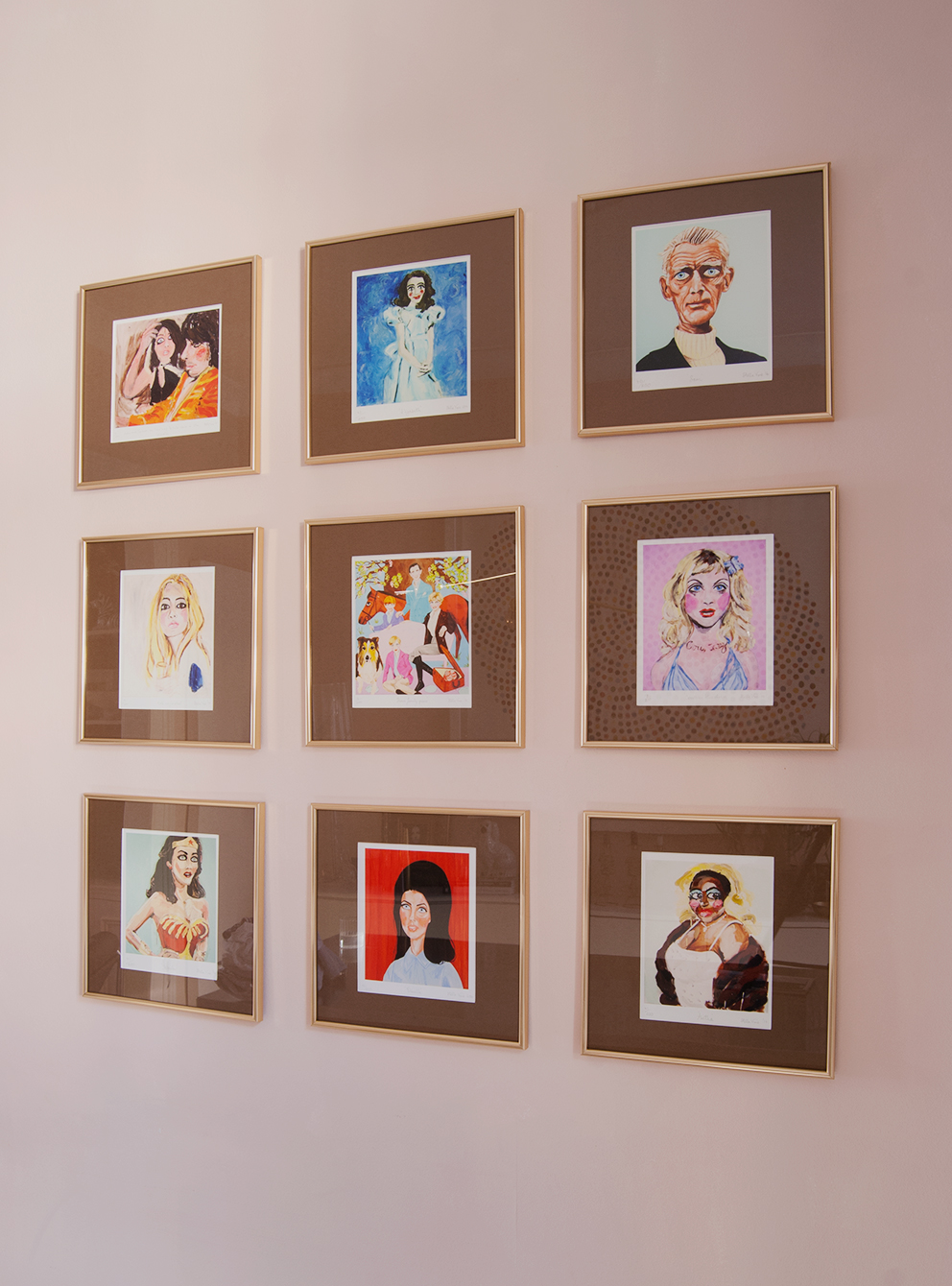 How To Make Cheap Frames Look Top Notch. Grid Gallery Wall Gold Frames And Brown Mounts