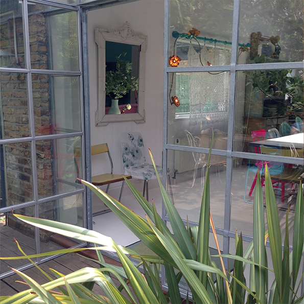 Crittall windows looking back into house