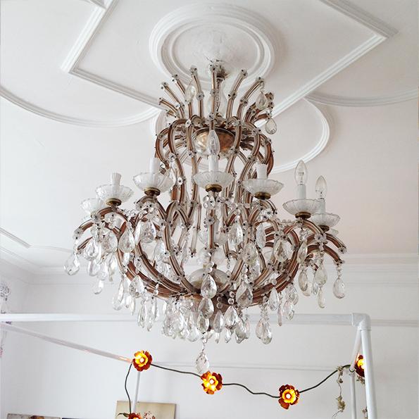 Murano chandelier in master bedroom
