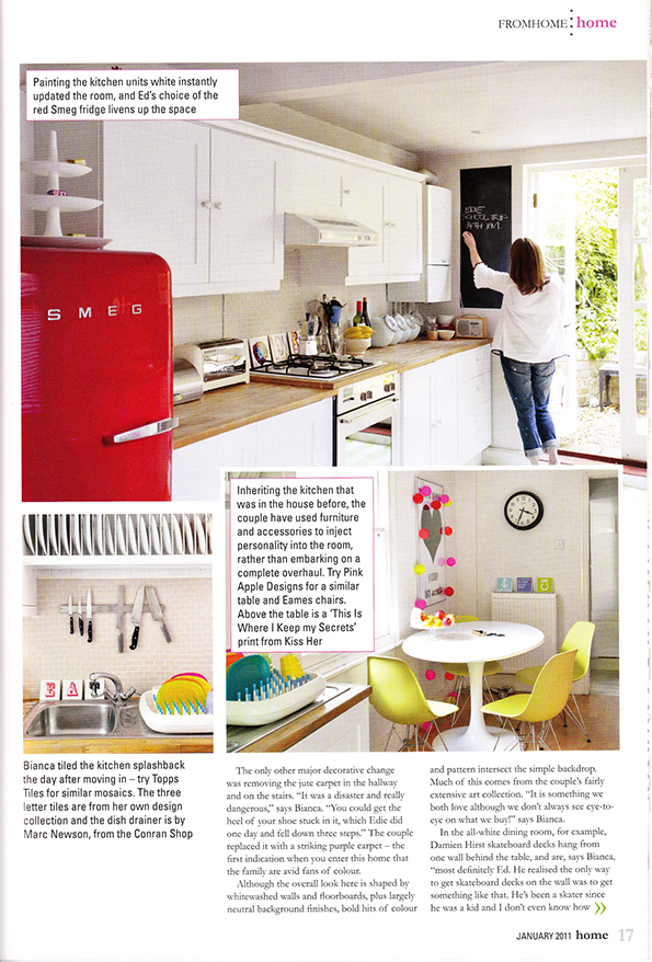 Magazine images of old kitchen before makeover