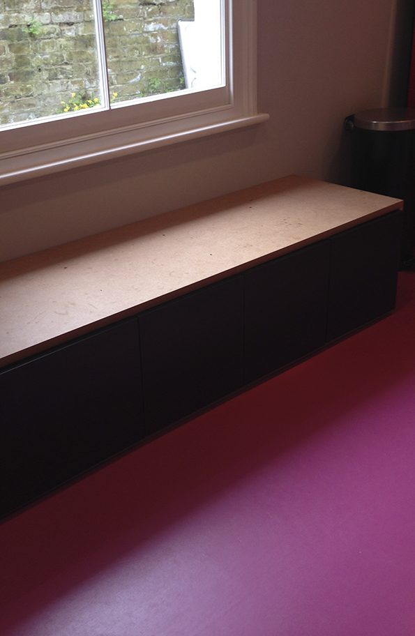 Bench Seat being built from kitchen cabinets and MDF