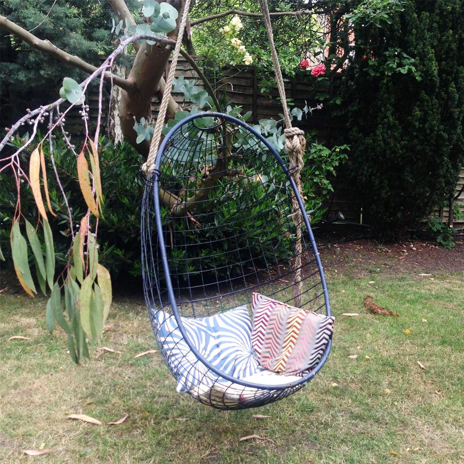 Hanging seat in garden