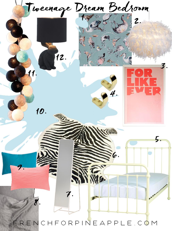 Tweenage Dream Bedroom Moodboard - French For Pineapple Blog