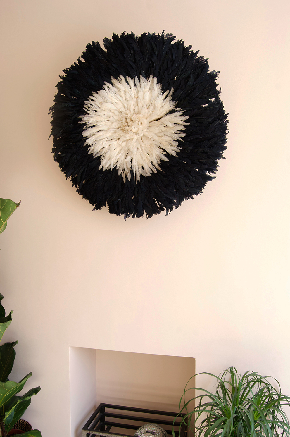 Black and cream pineapple hat on blush pink chimney breast - French For Pineapple blog