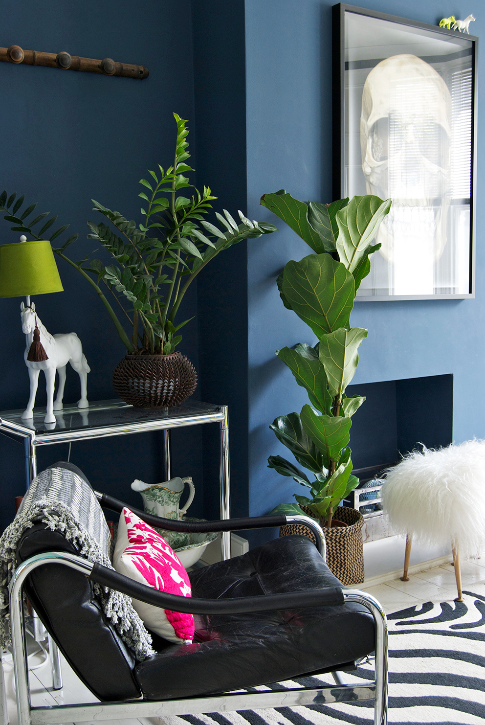 Navy Living Room with plants and vintage leather chair - French For Pineapple Blog