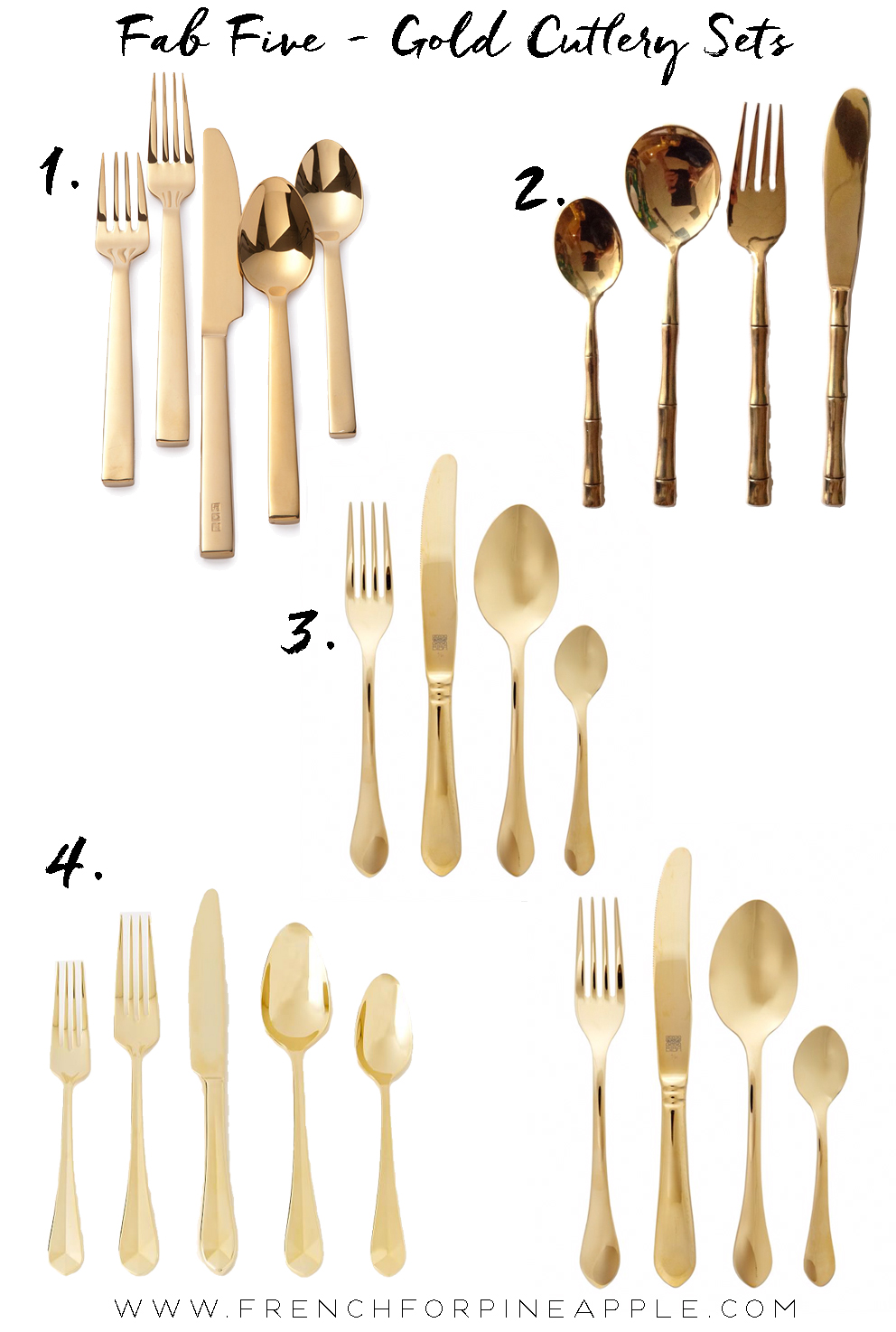 French For Pineapple - Fab Five Gold Cutlery Sets