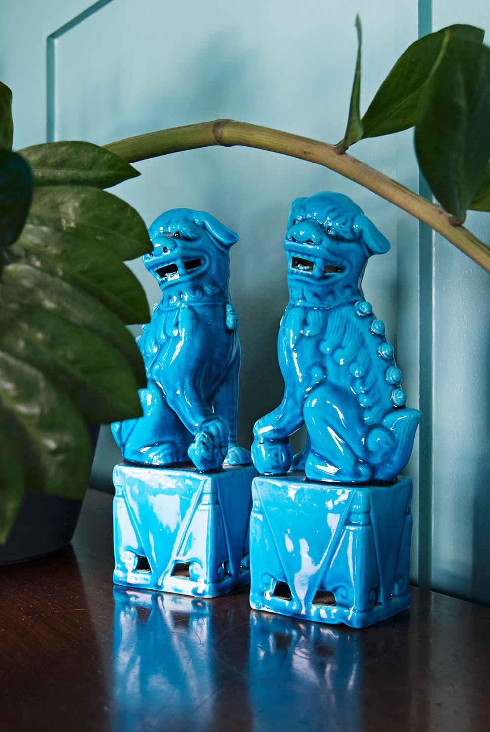Family TV Room Reveal - French For Pineapple Blog - Turquoise Foo Dogs