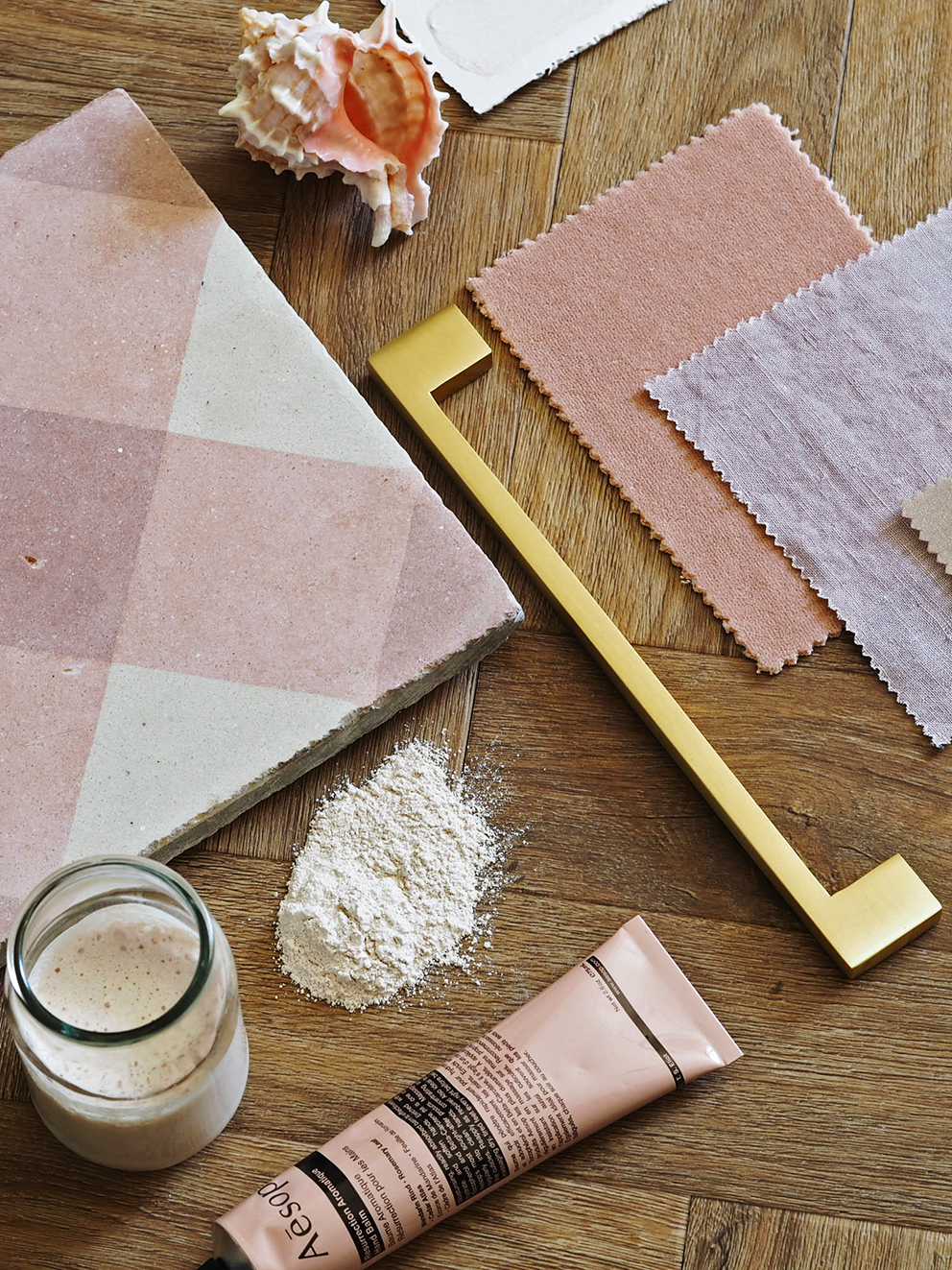 French For Pineapple Blog - Maitland & Poate Antinque Tiles - Pink Tile Flatlay