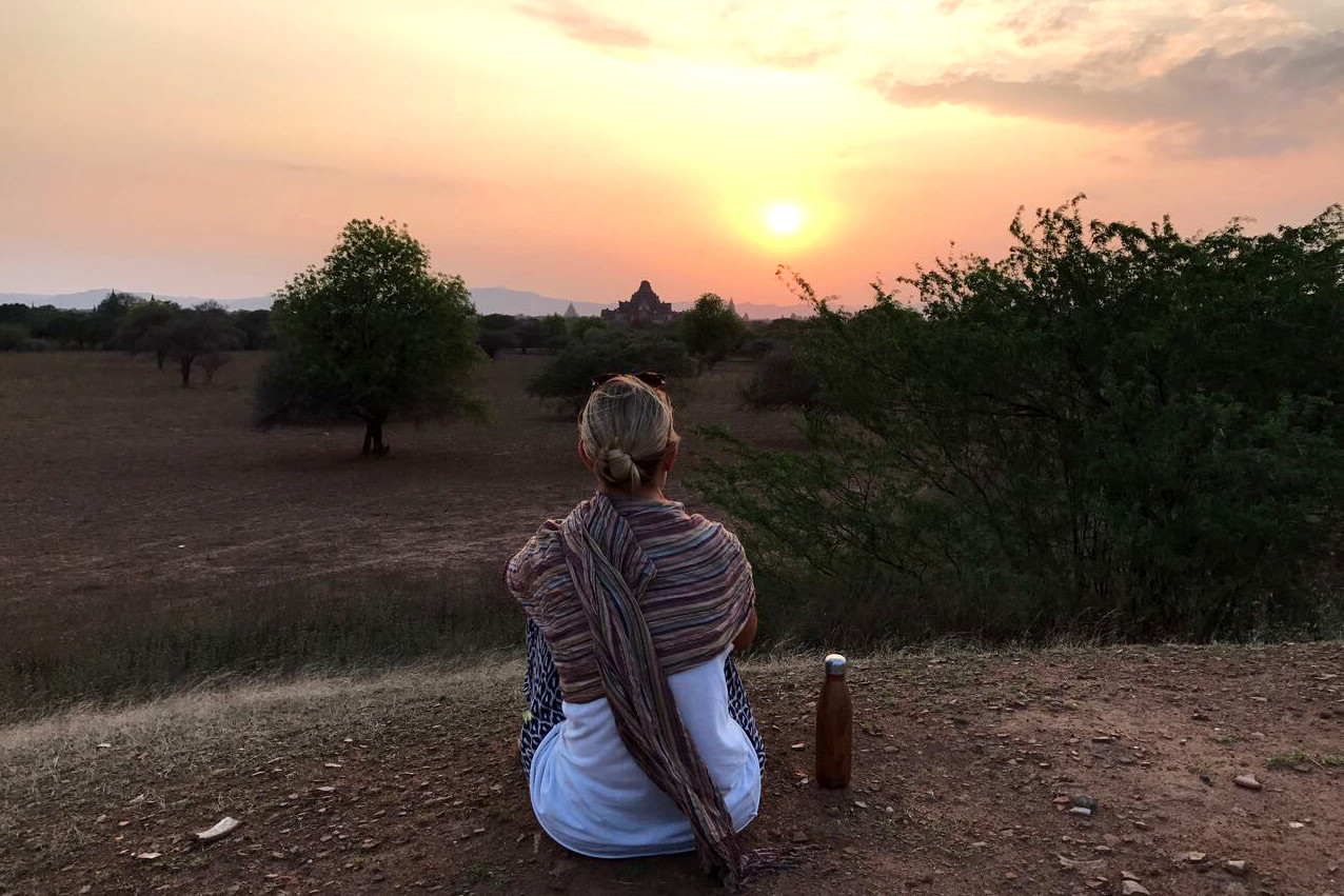 Just me, my Earth Eco Bottle, and the sun setting over Bagan
