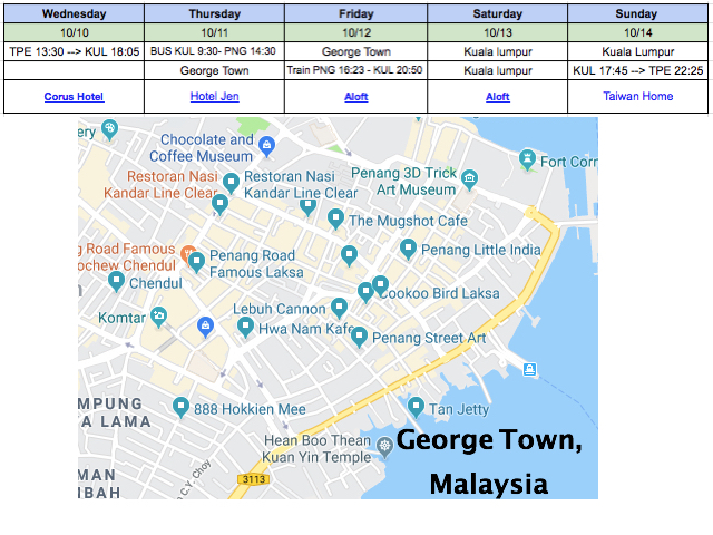 Chin's 2018 Malaysia Trip - how my travel itinerary used to look like