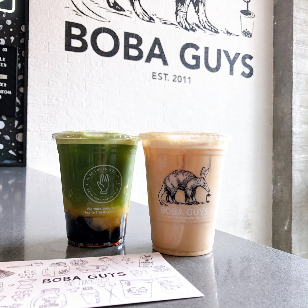 Matcha Peachu & Coffee Milk Tea @Boba Guys