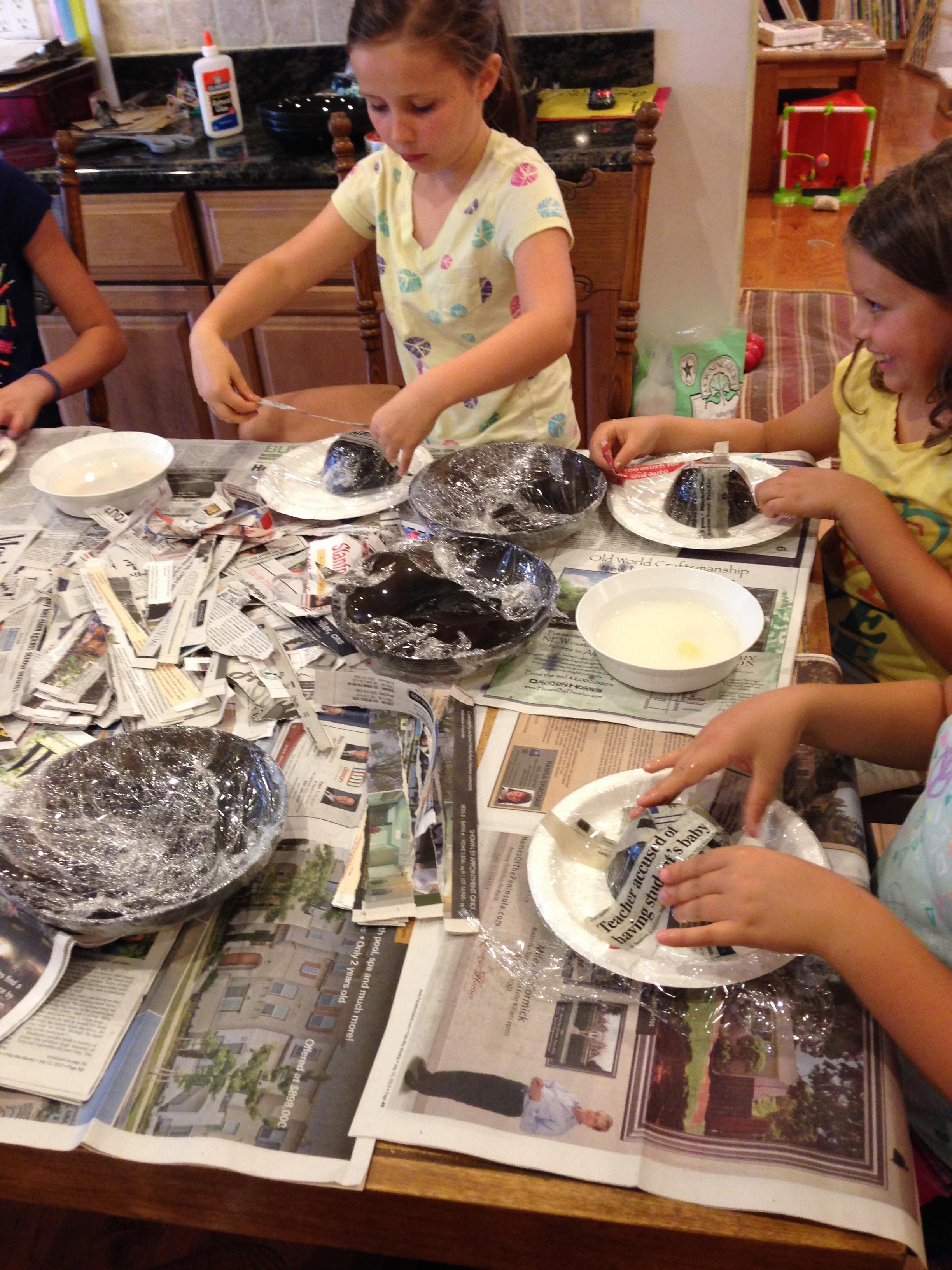 Beginnings of 3D paper mache creations