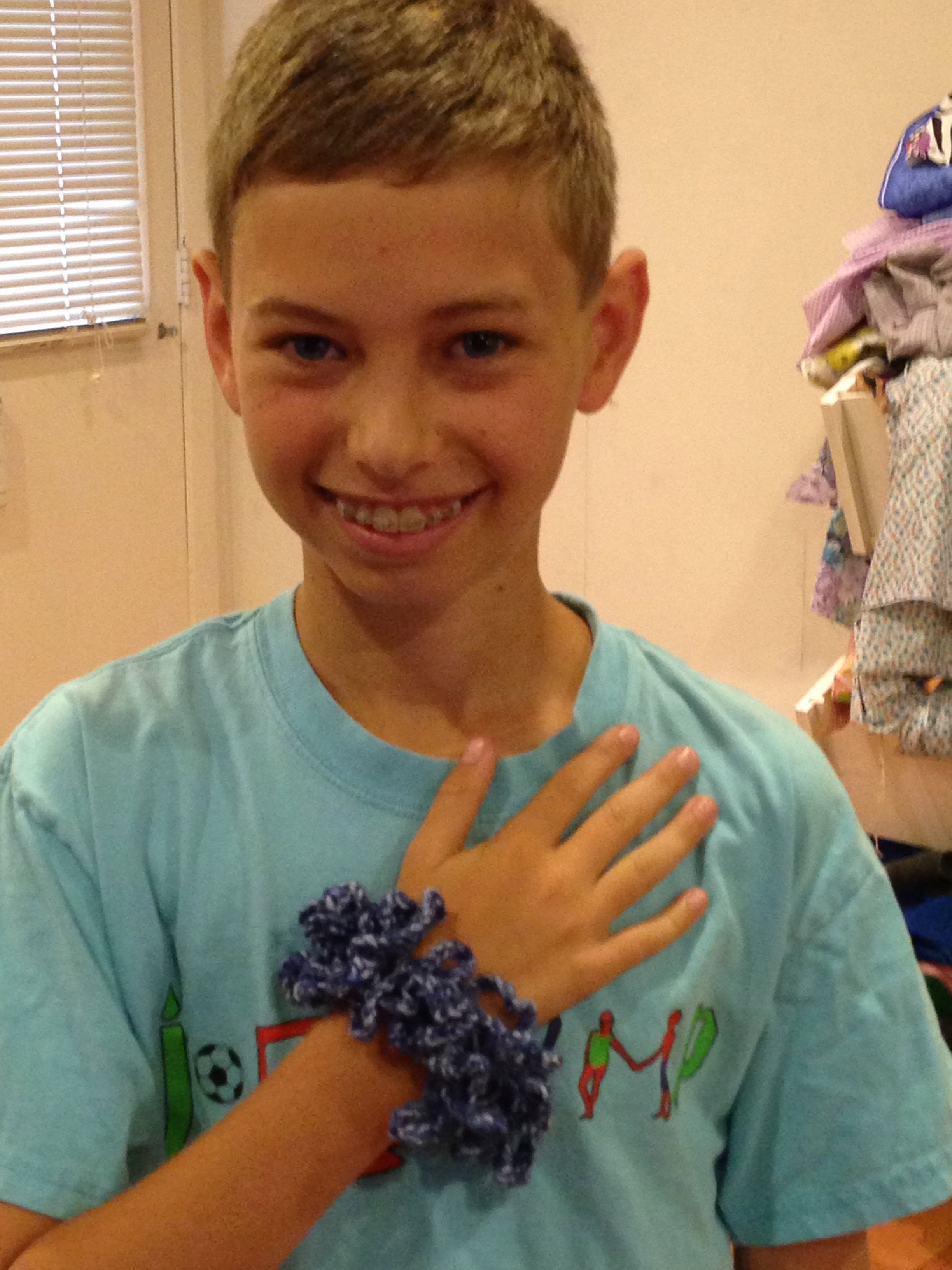 8th grade schrunchie - he made this for his sister.