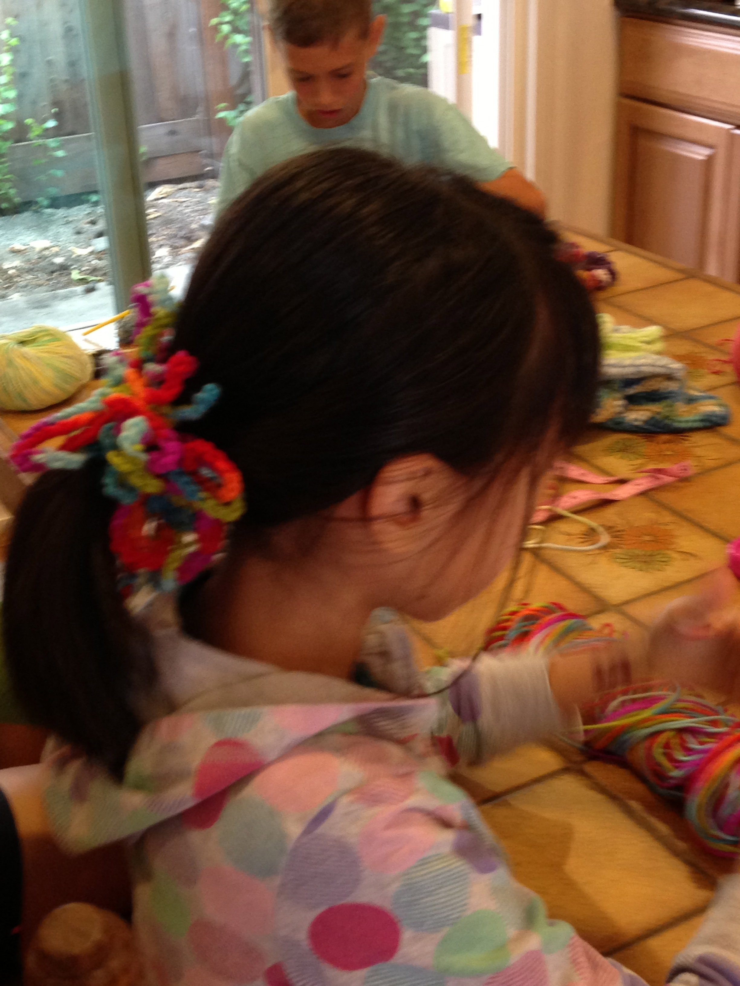 Beautifully colored hair scrunchie.