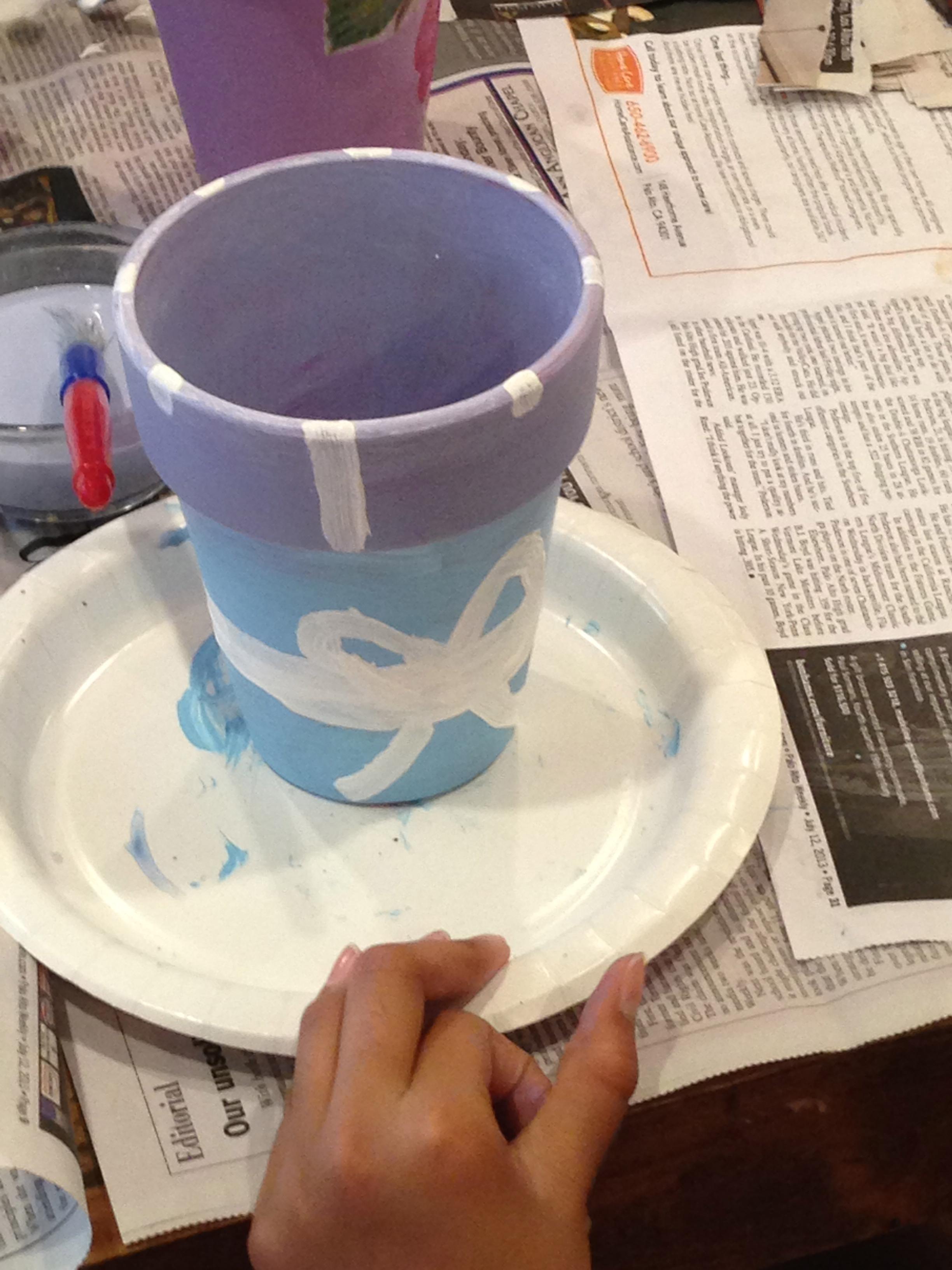 5th grade painted pot.