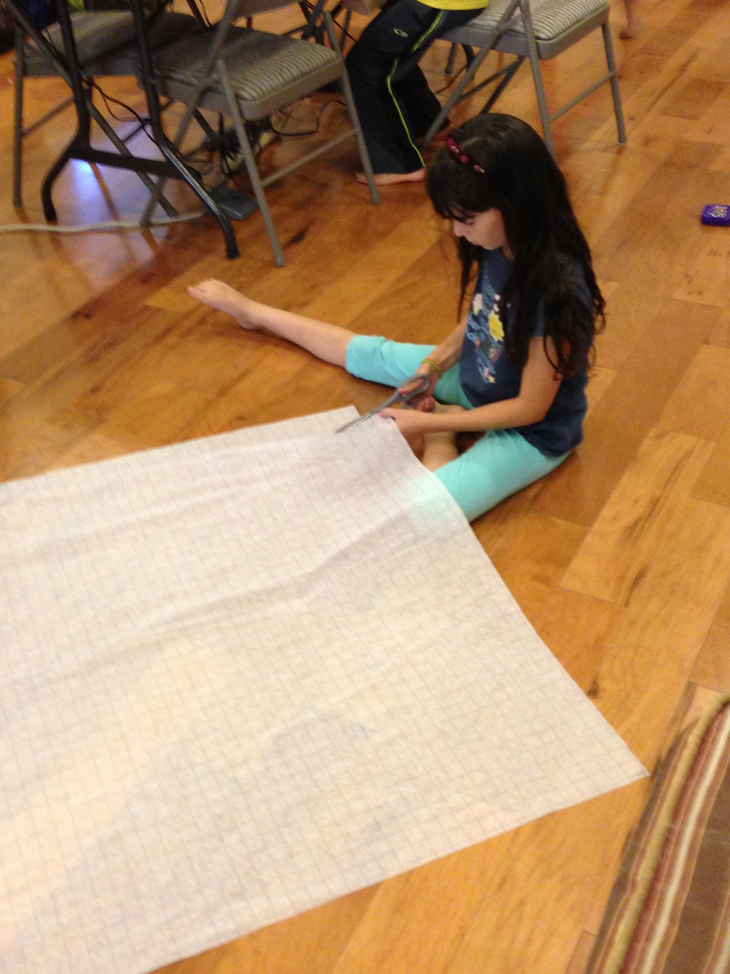Making a pattern for a long skirt.