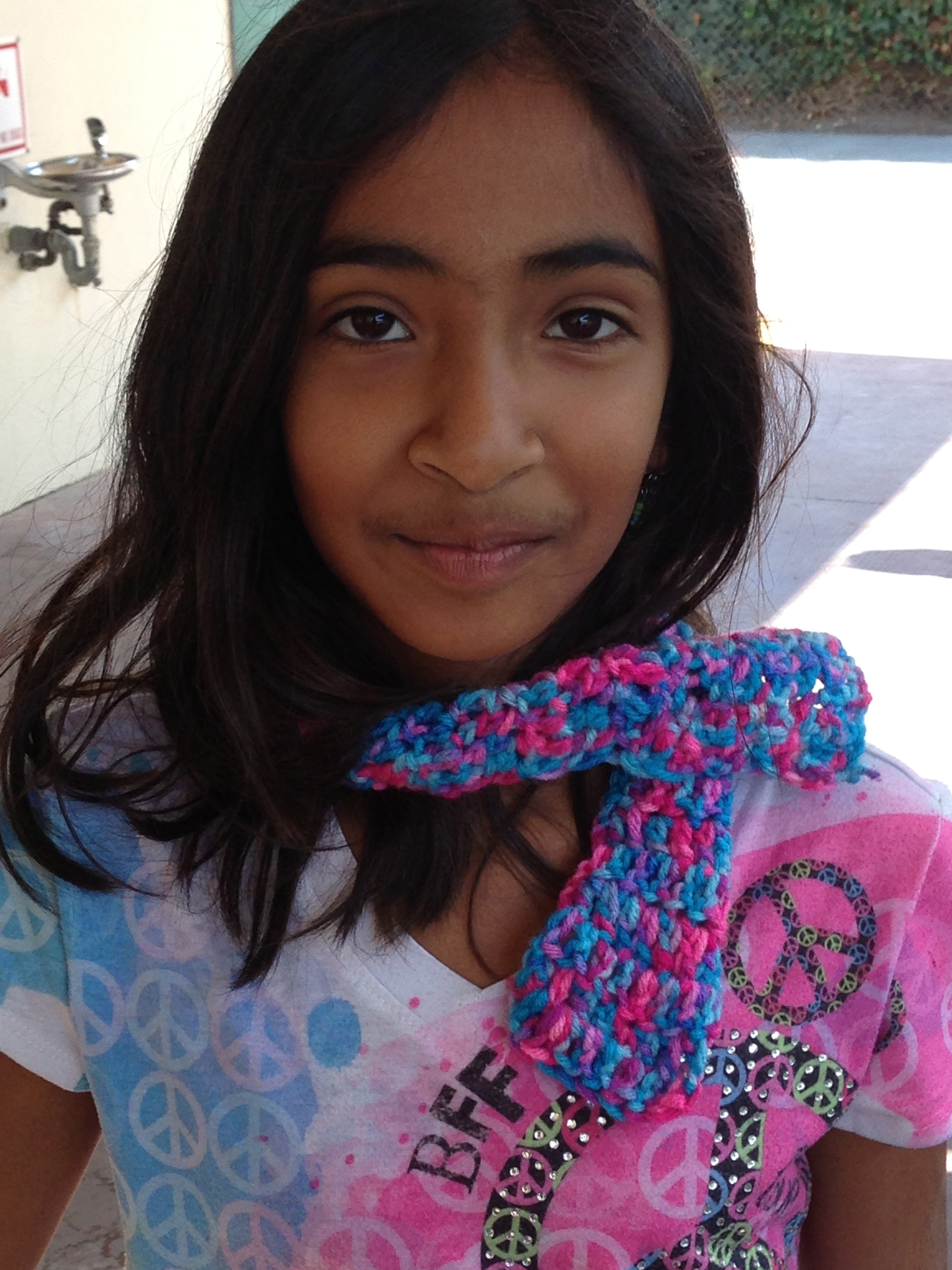 Crocheted scarf by 3rd grader.