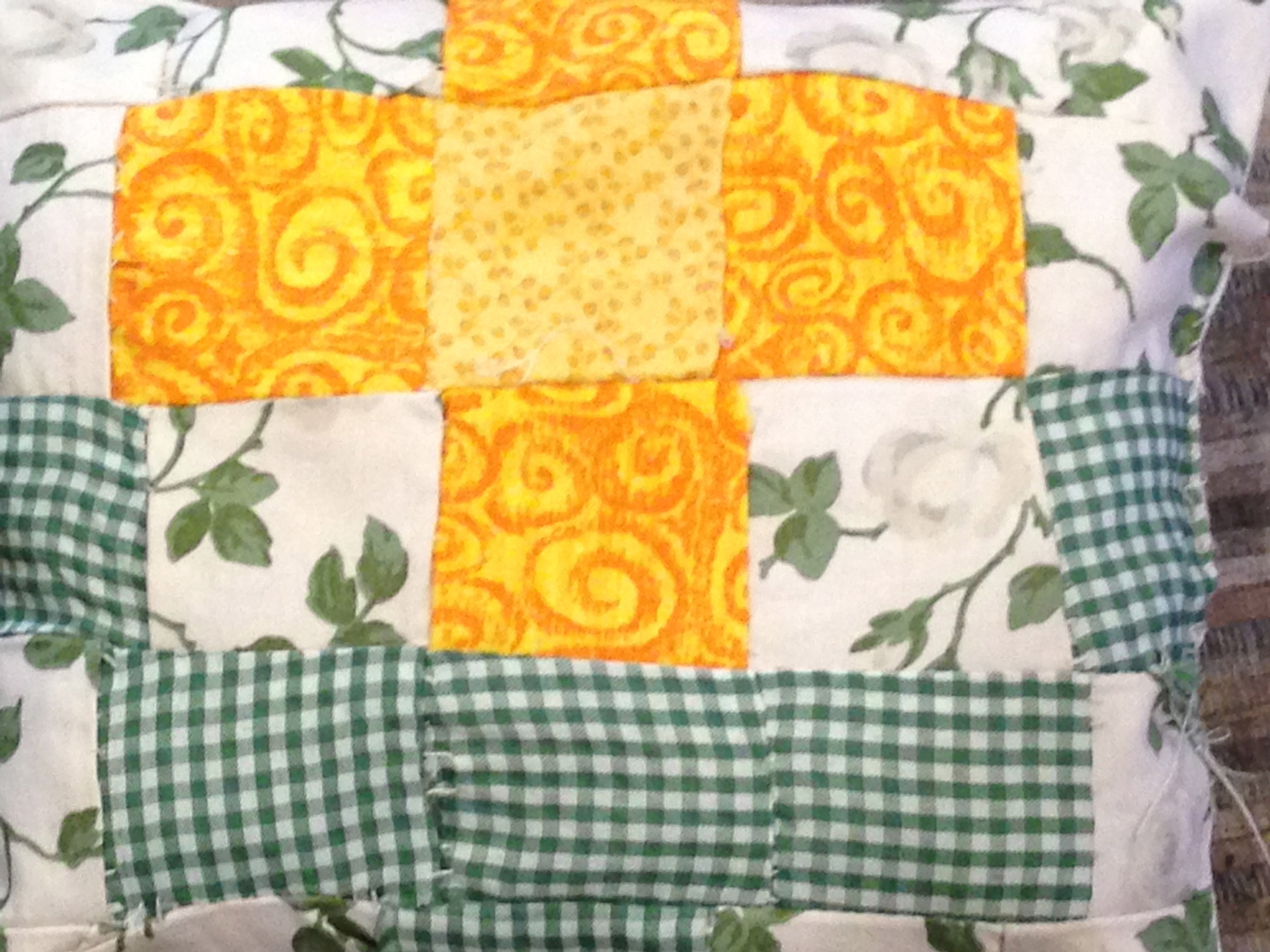 """First time piecing 2"""" pieces of fabric."""