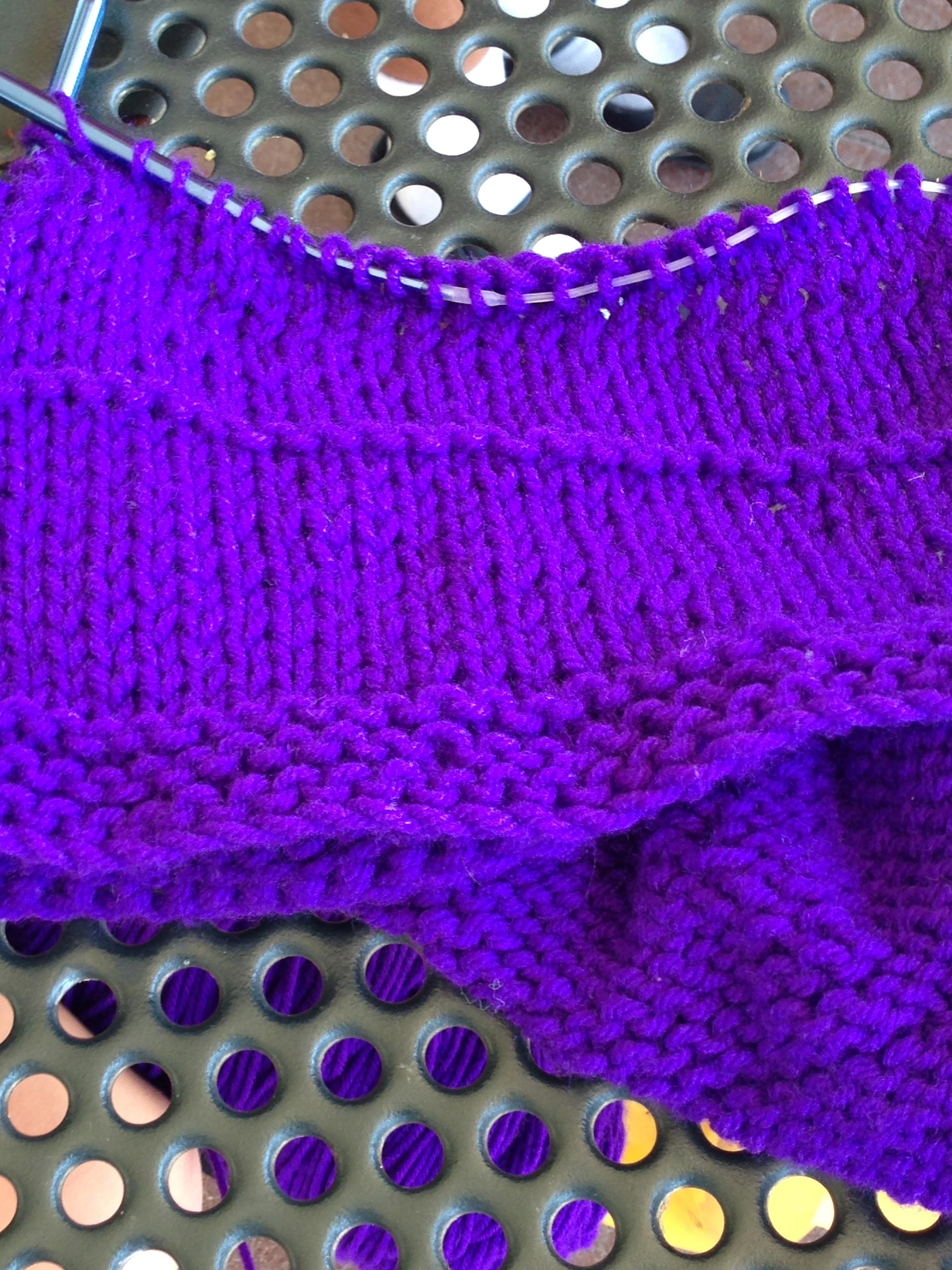 3rd grader knitting on circular needles - more than 100 stitches!!