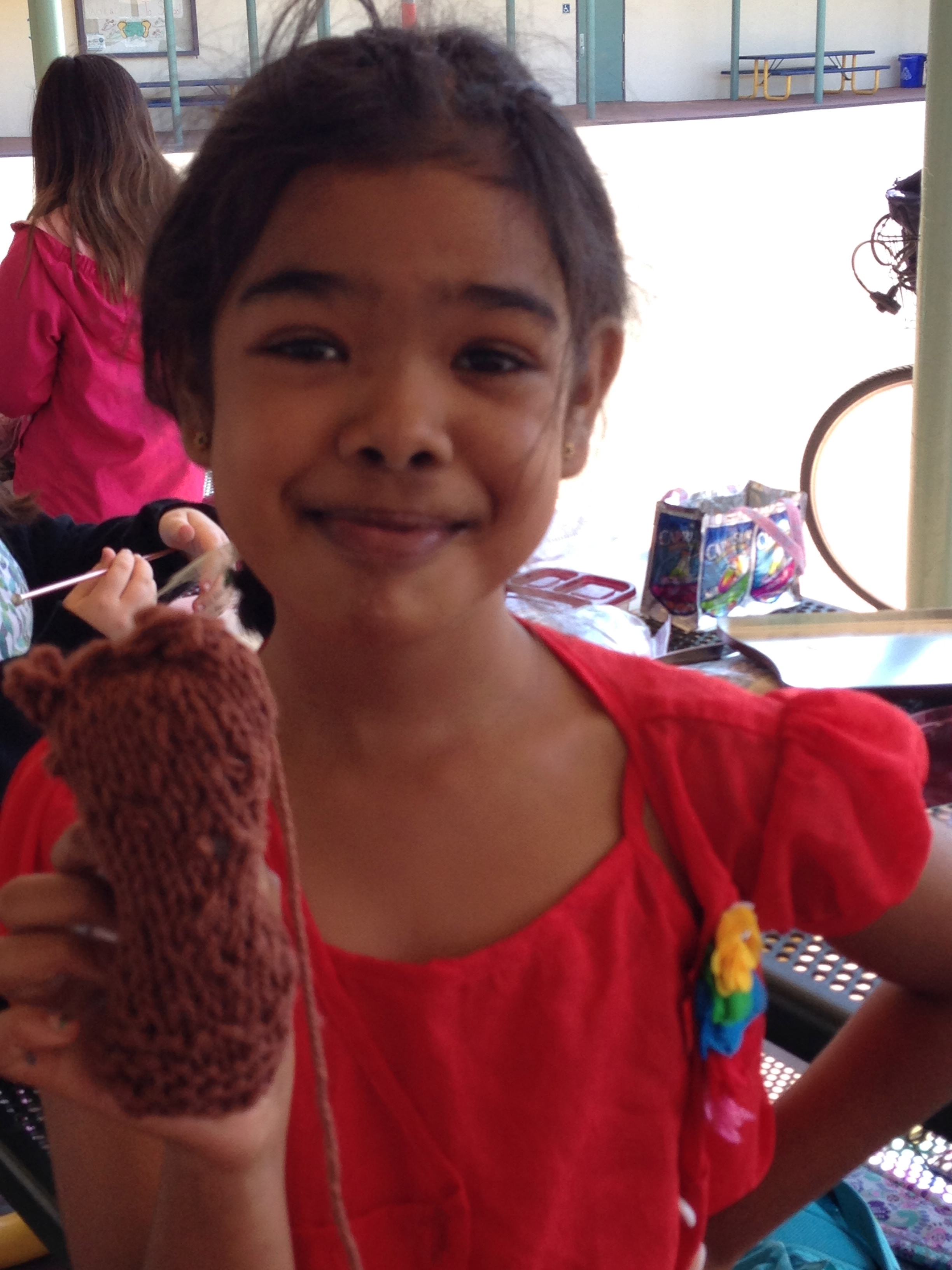 3rd grader with a finished bear leg.