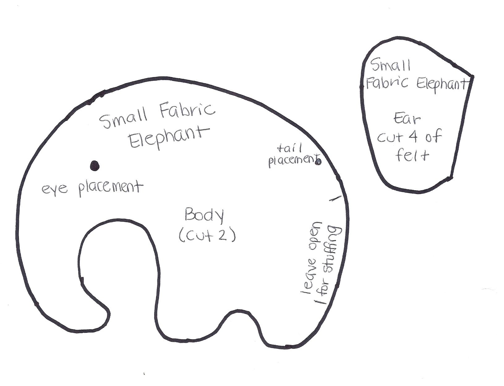 Small Fabric Elephant-Pattern