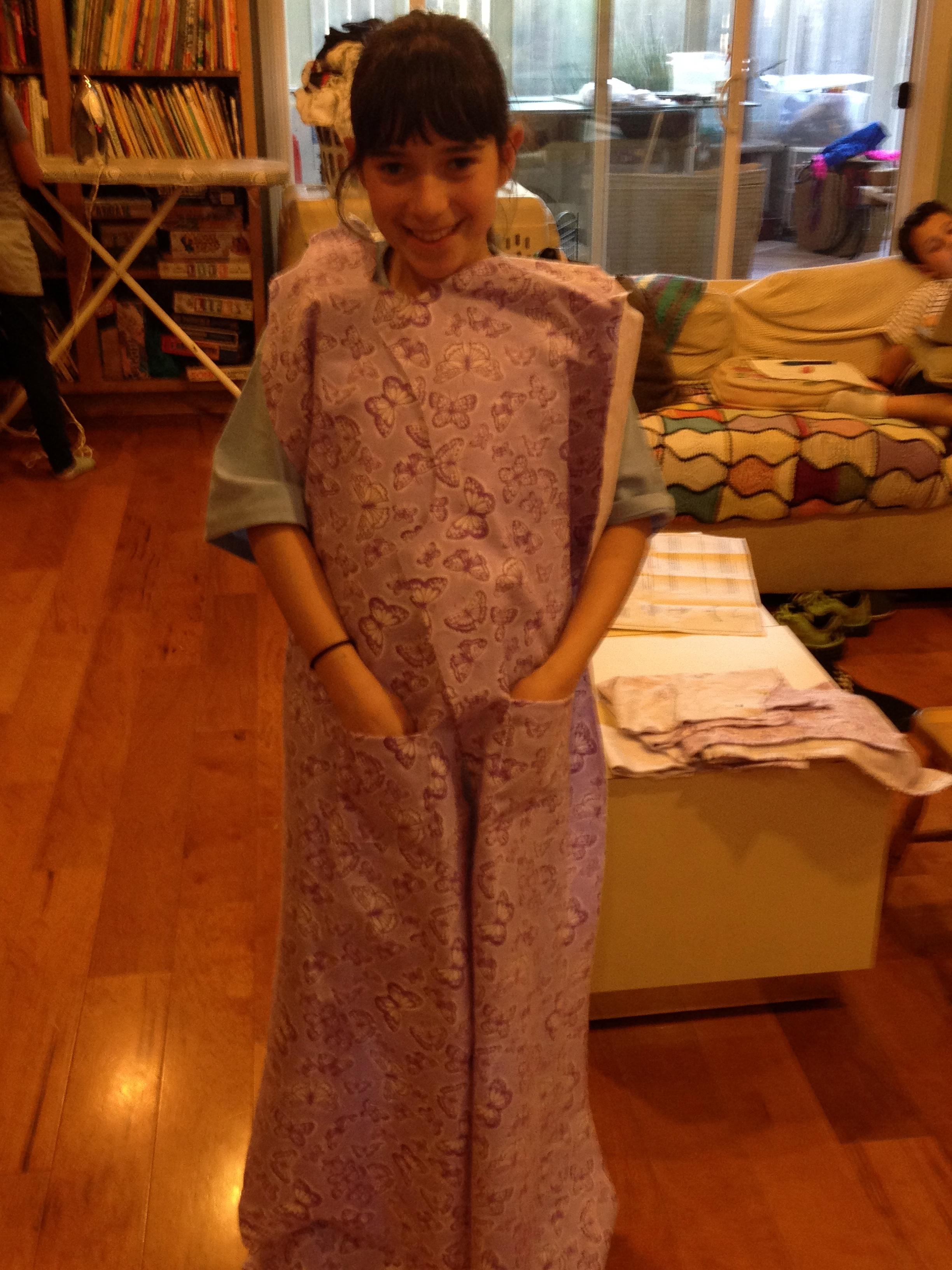 Progress on 5th grader robe.
