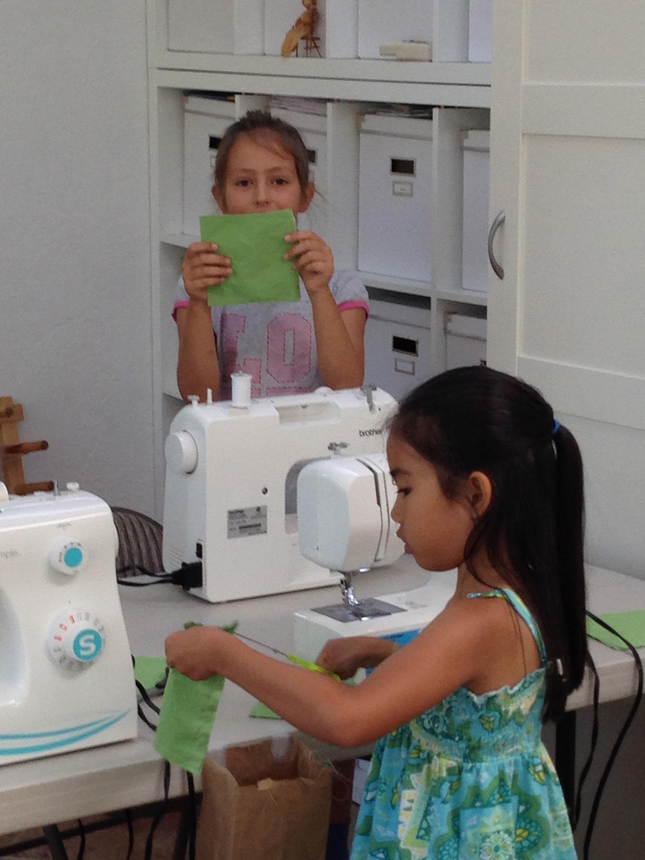 Beginning sewing.