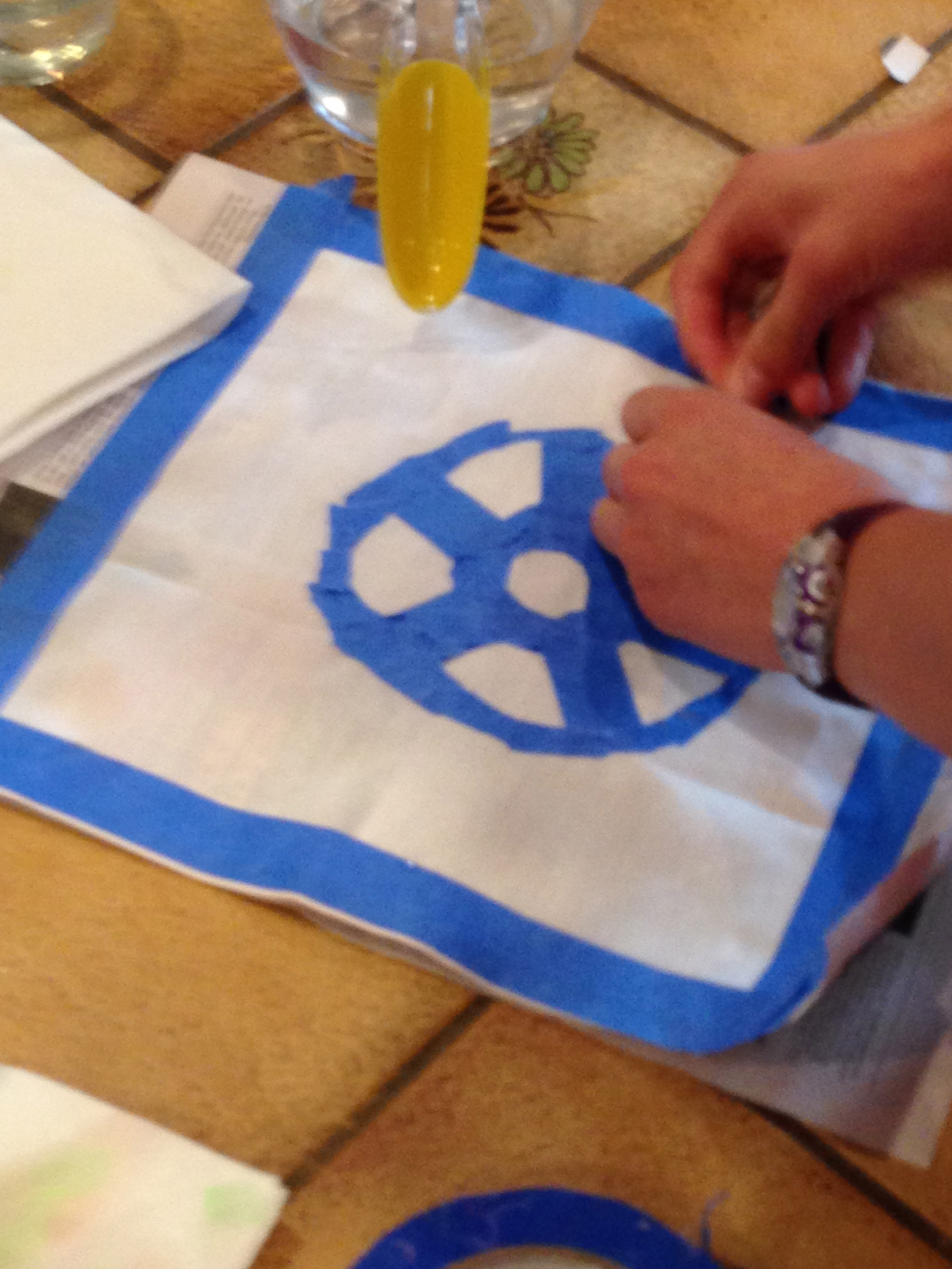 Taping for fabric painting.