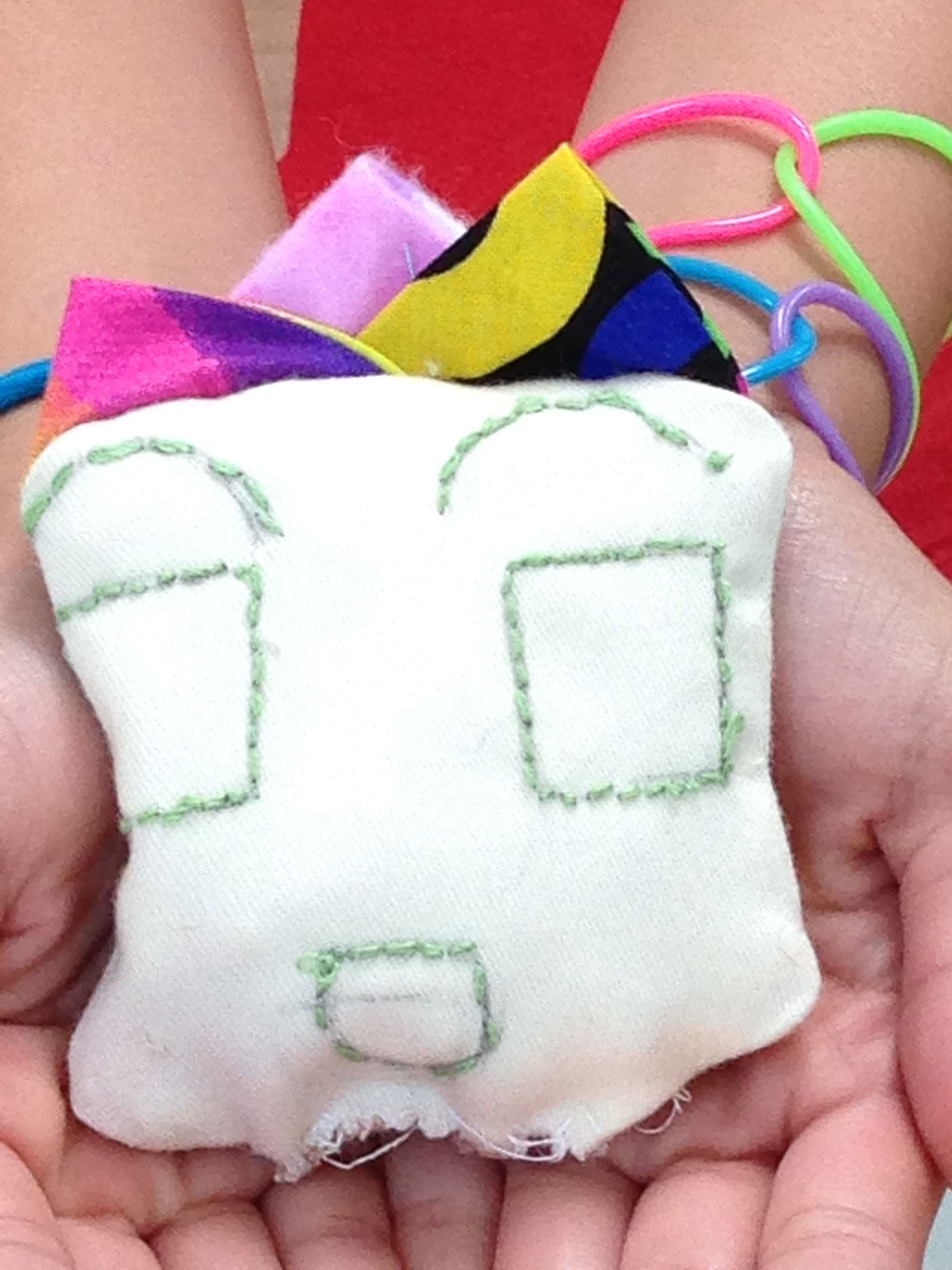 Close up of 6th grader bean bag.