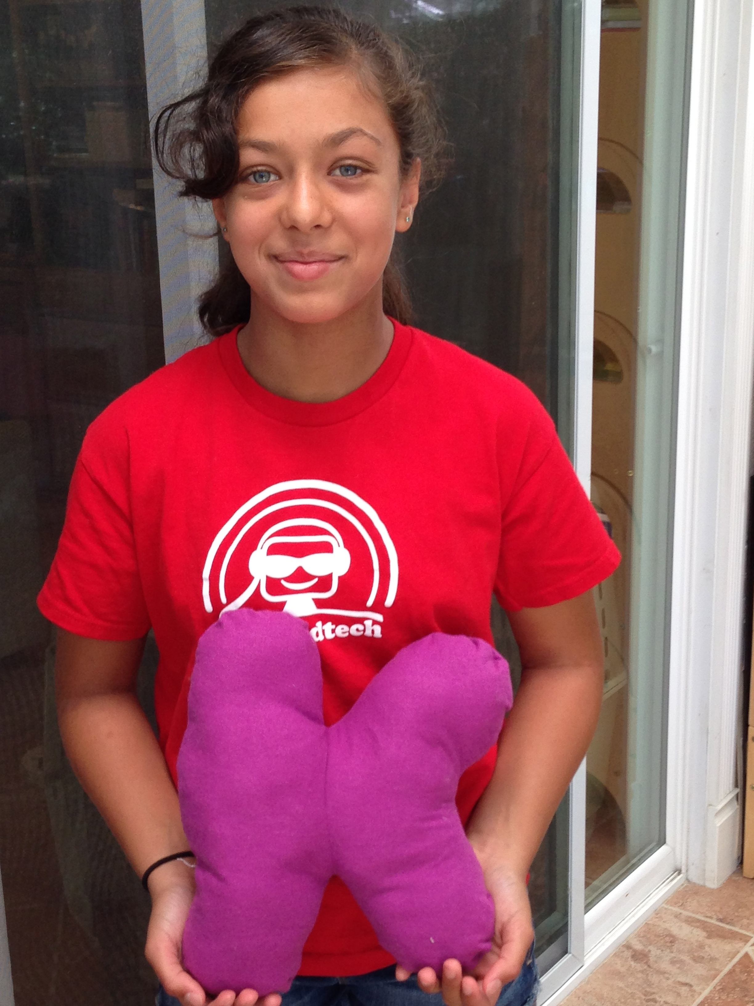 "6th grader ""K"" pillow."