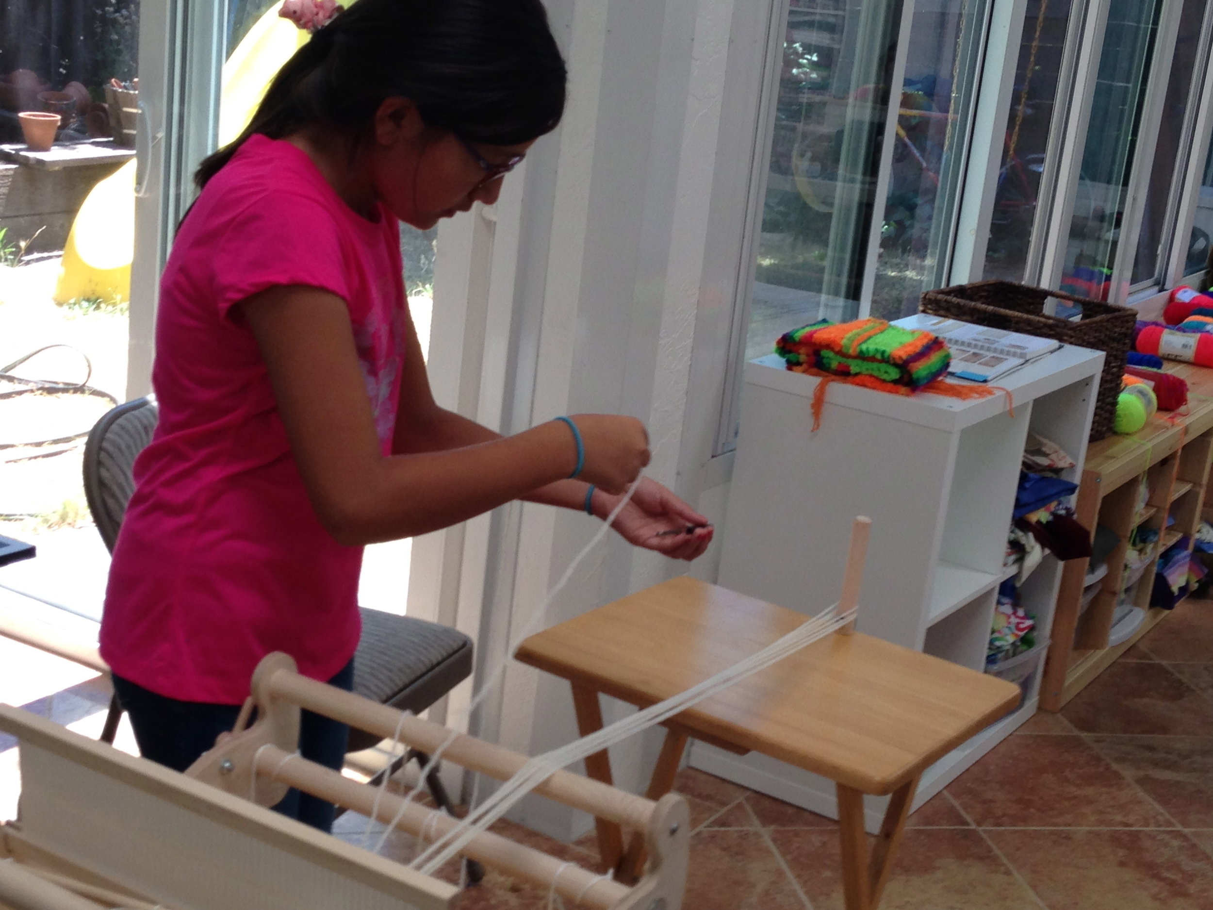 5th grader starting to warp her 2nd project.