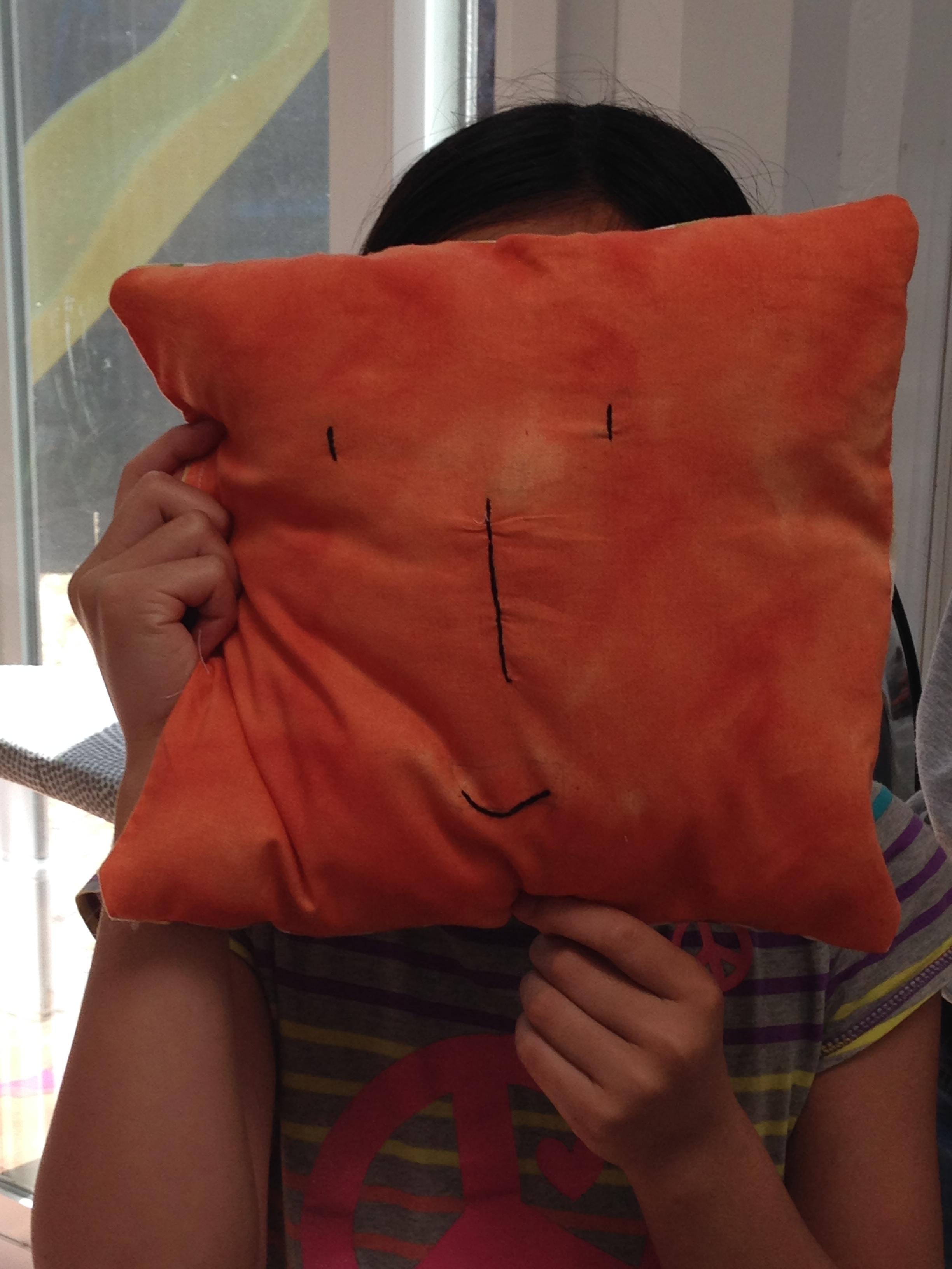 "4th grader ""face"" pillow."