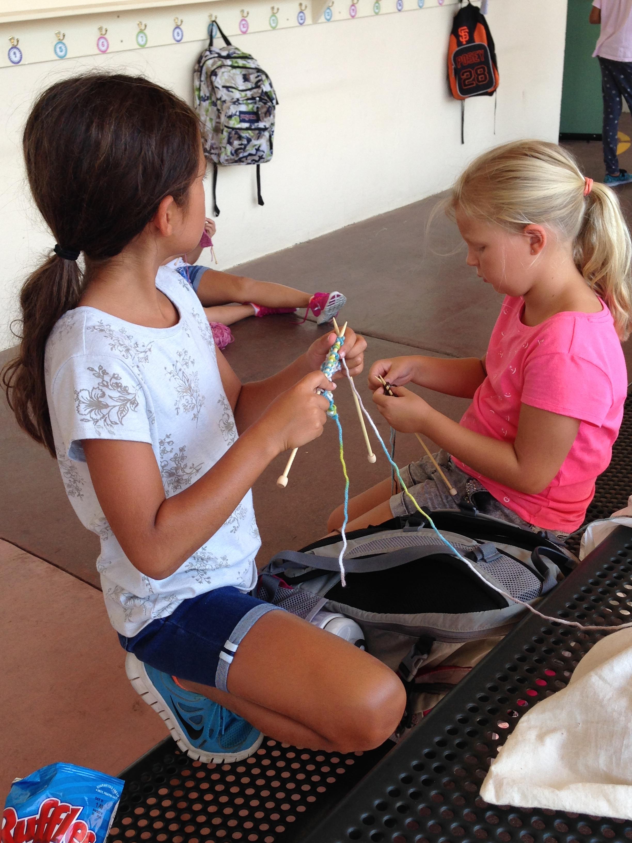 Chattin' and knittin'