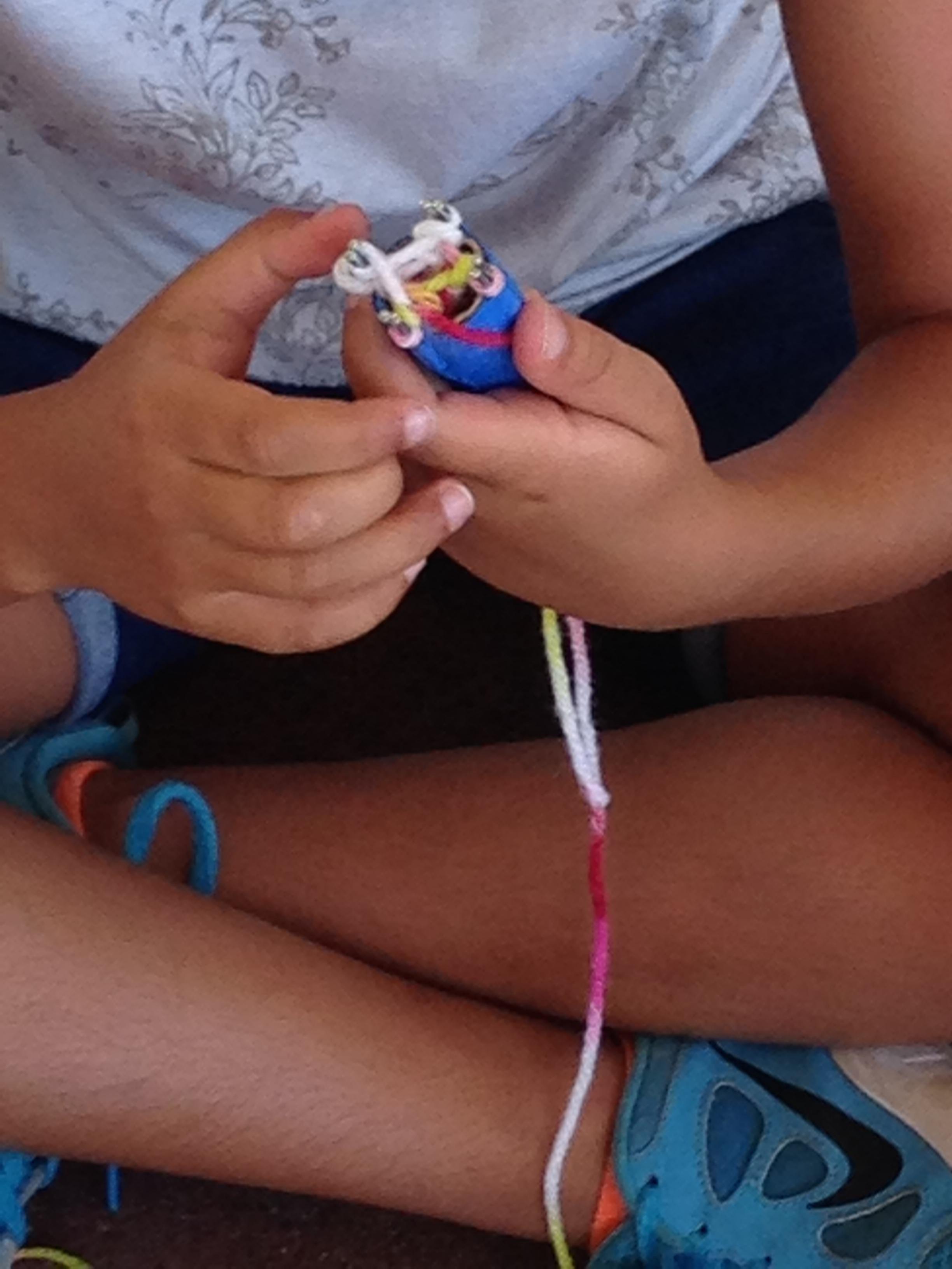 Spool knitting at break time.