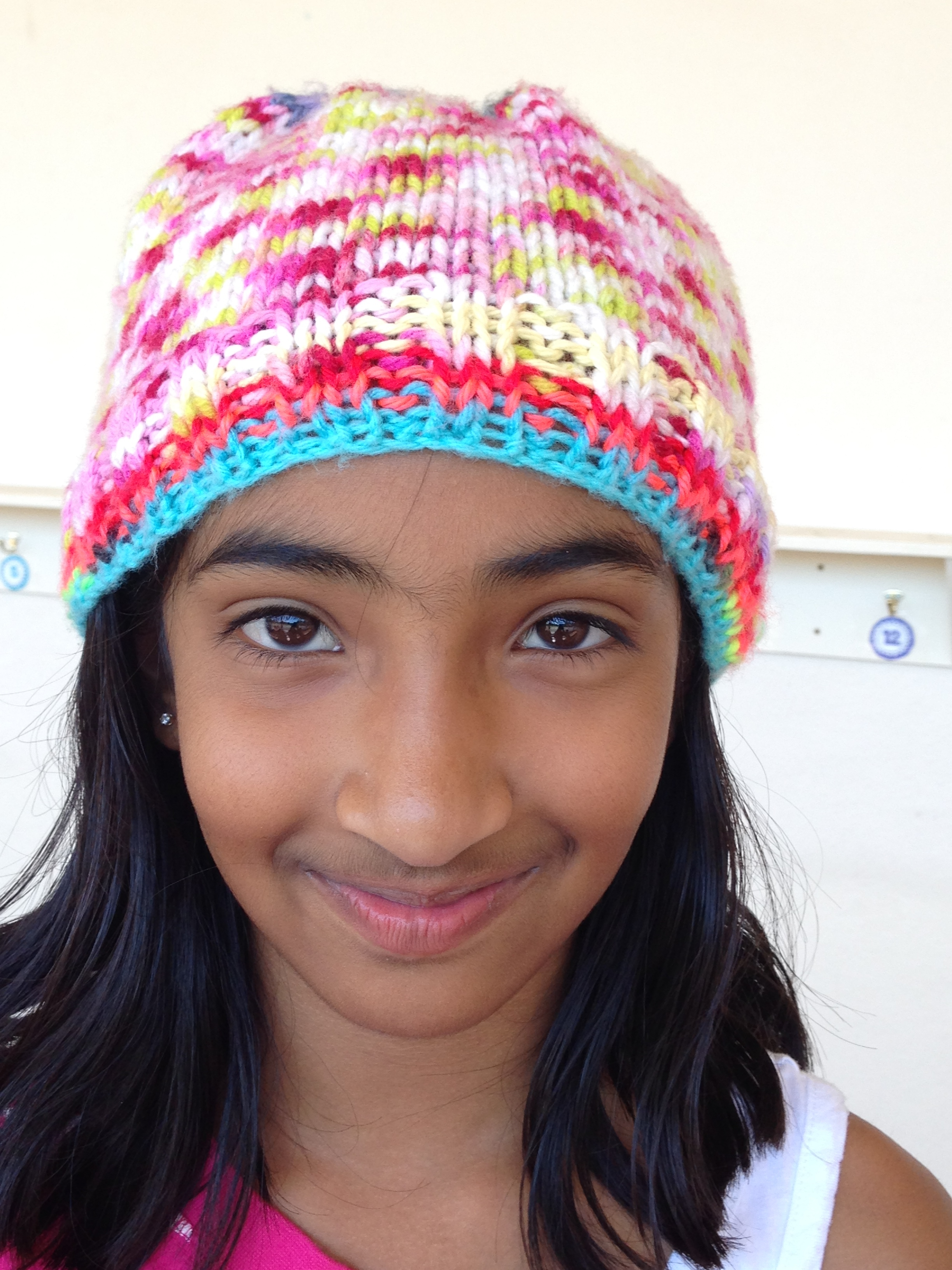 4th grader hat knit in the round.