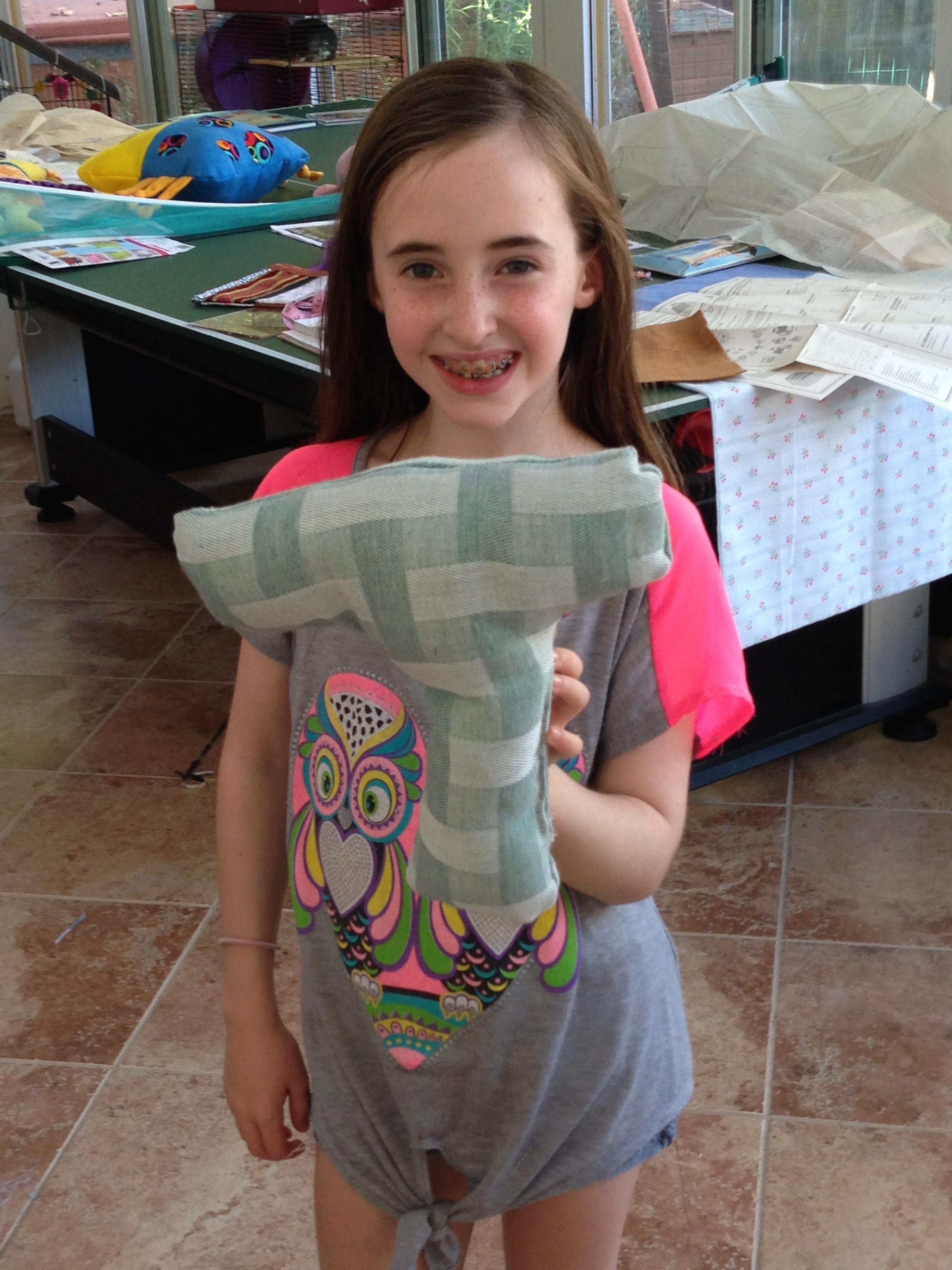 """4th grade """"T"""" pillow."""