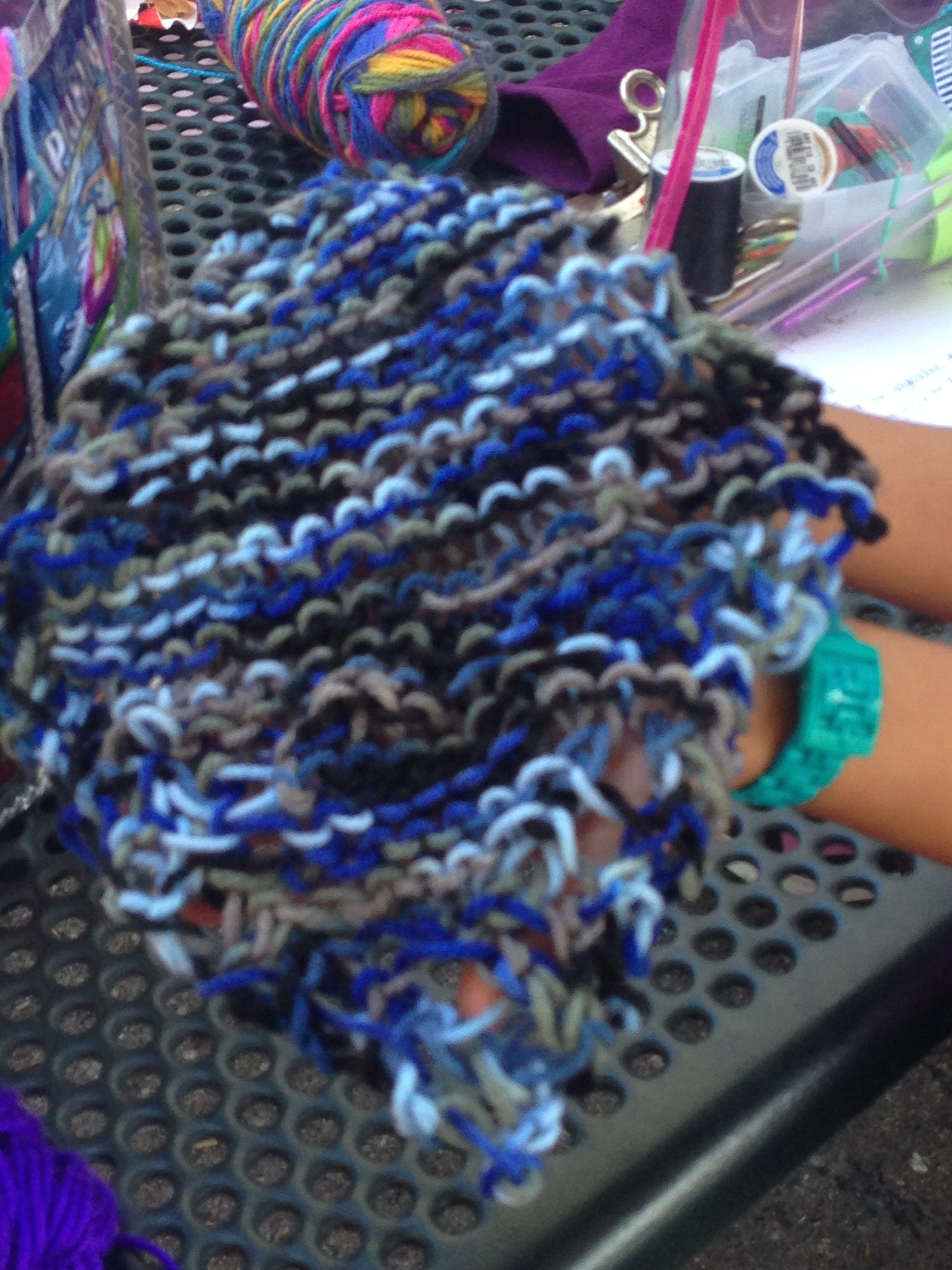 3rd grader grandmother's dishcloth for her grandmother.  Sweet!