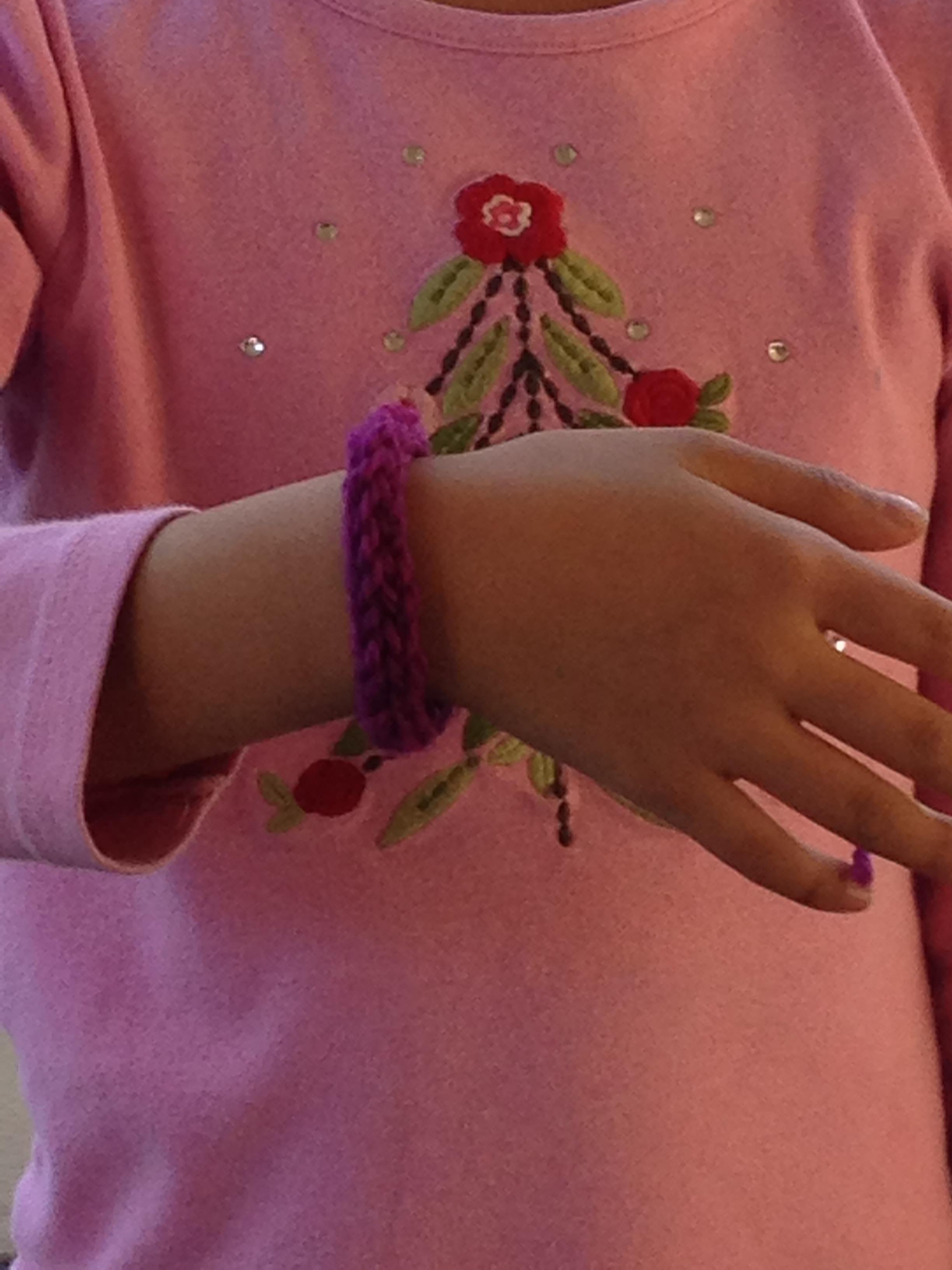 3rd grader spool knitted bracelet.