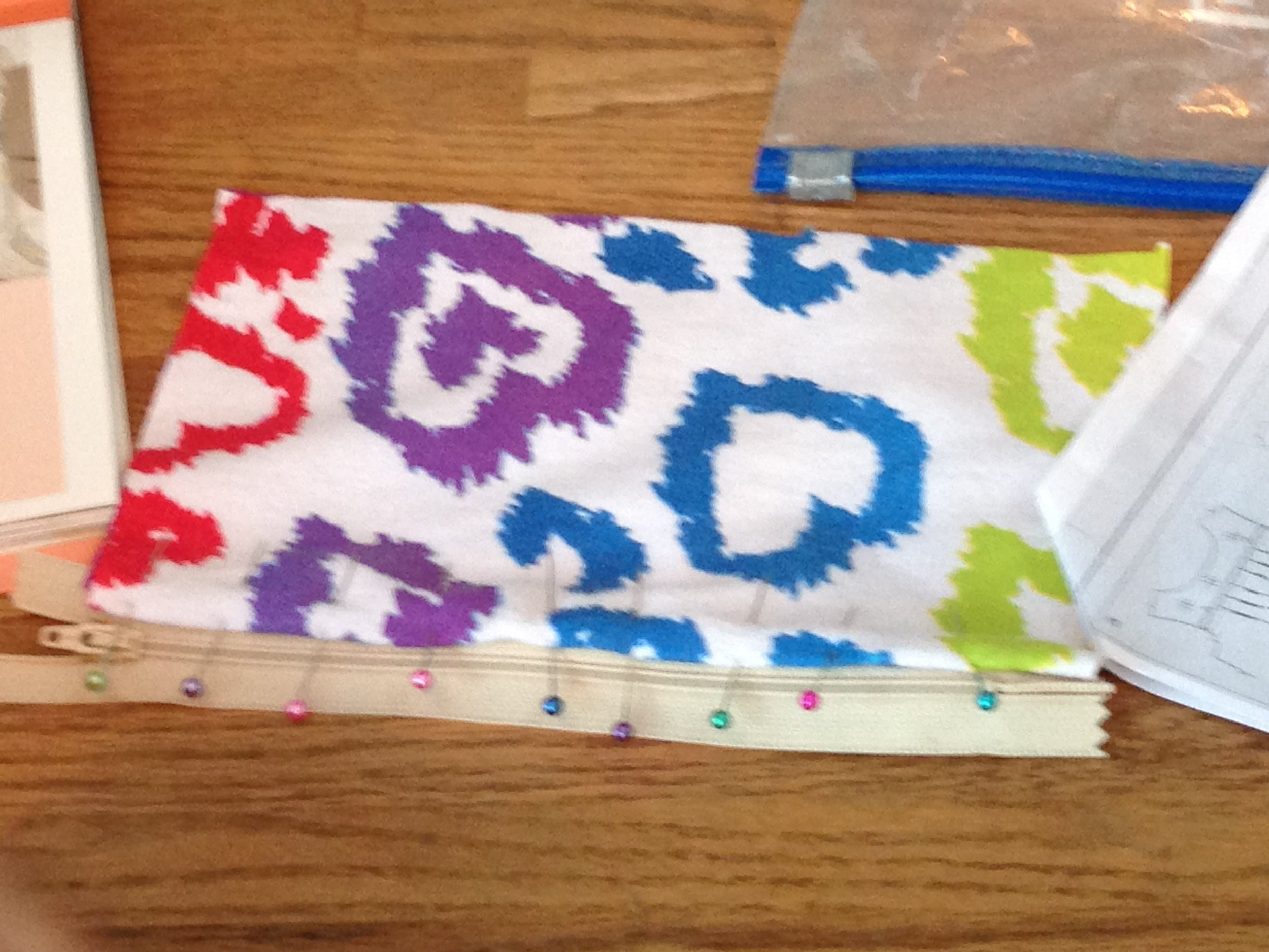 The start of a zippered pouch.