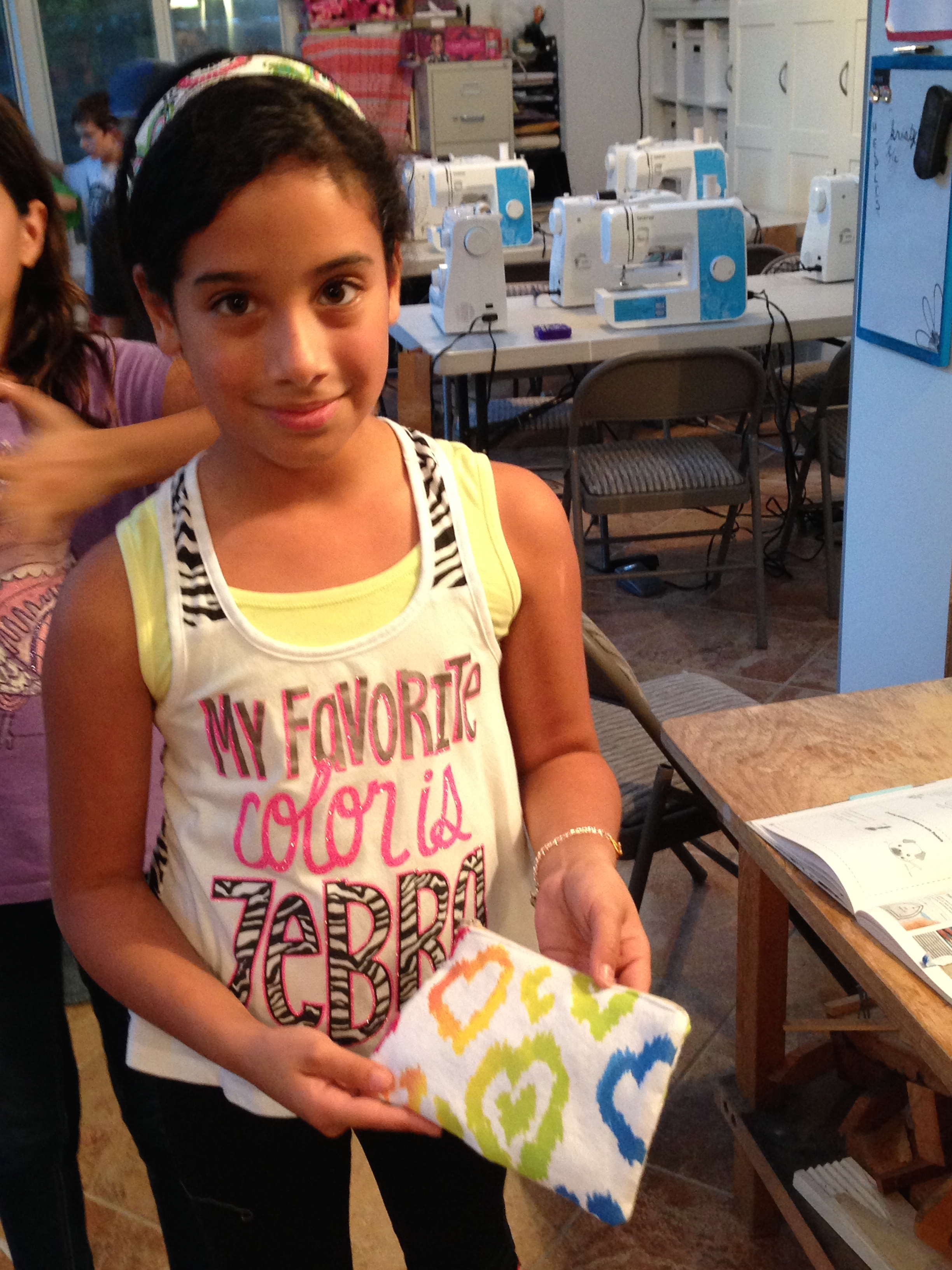 The finish of the zippered pouch - envisioned, started and finished all in one 90 minute class by this 4th grader.