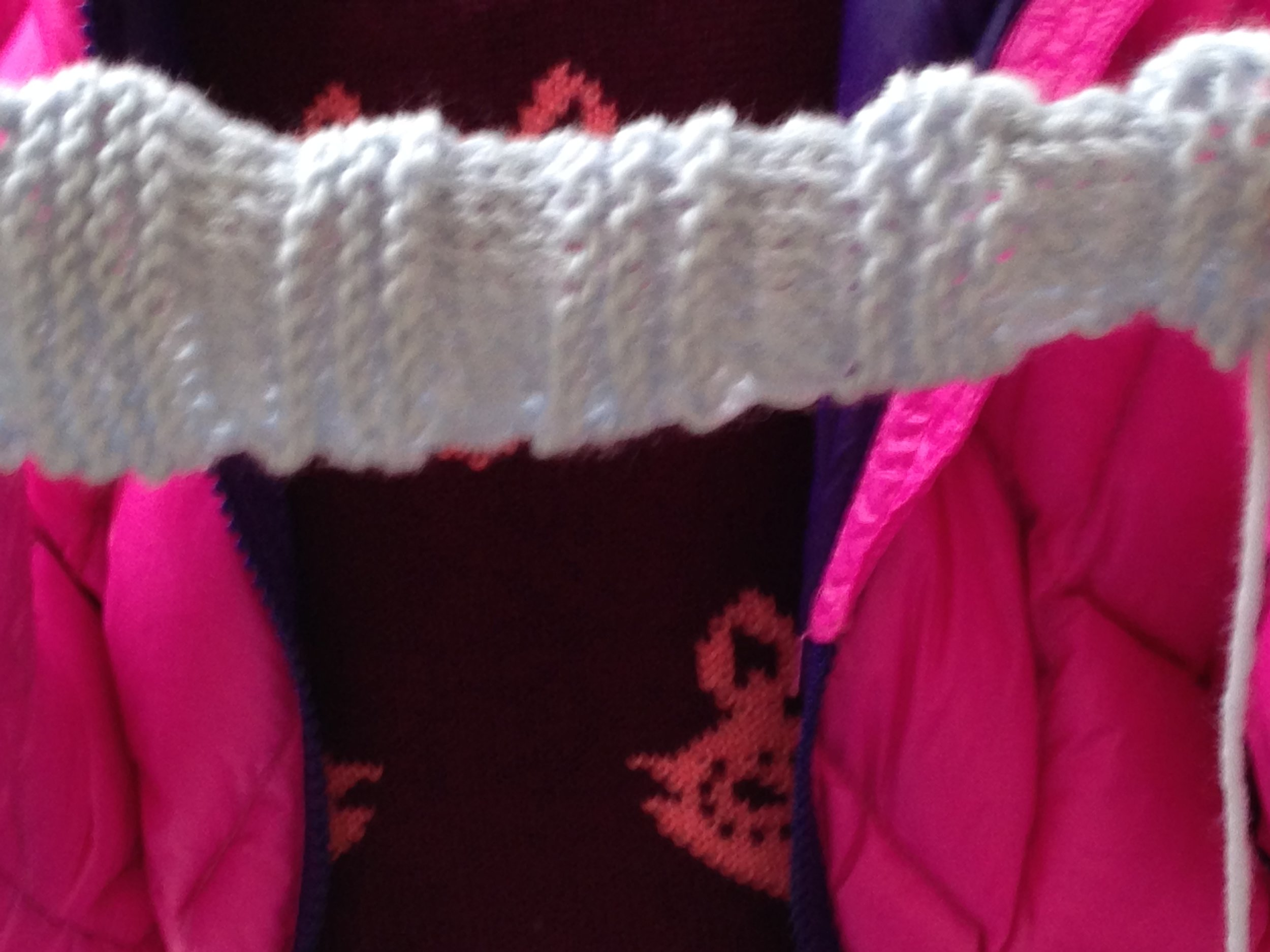 3rd grader knitted strap for a bag.