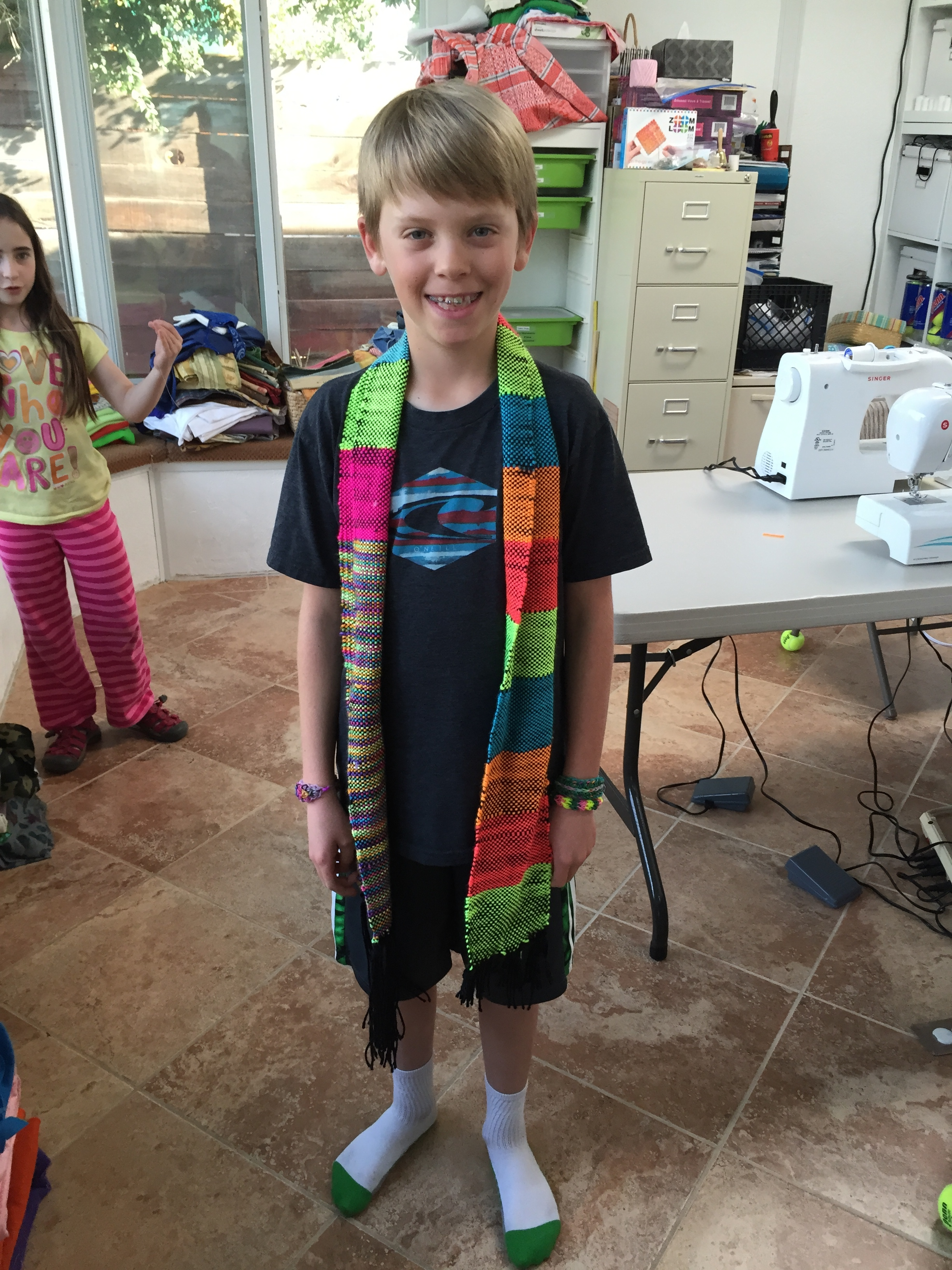 3rd grader woven scarf.
