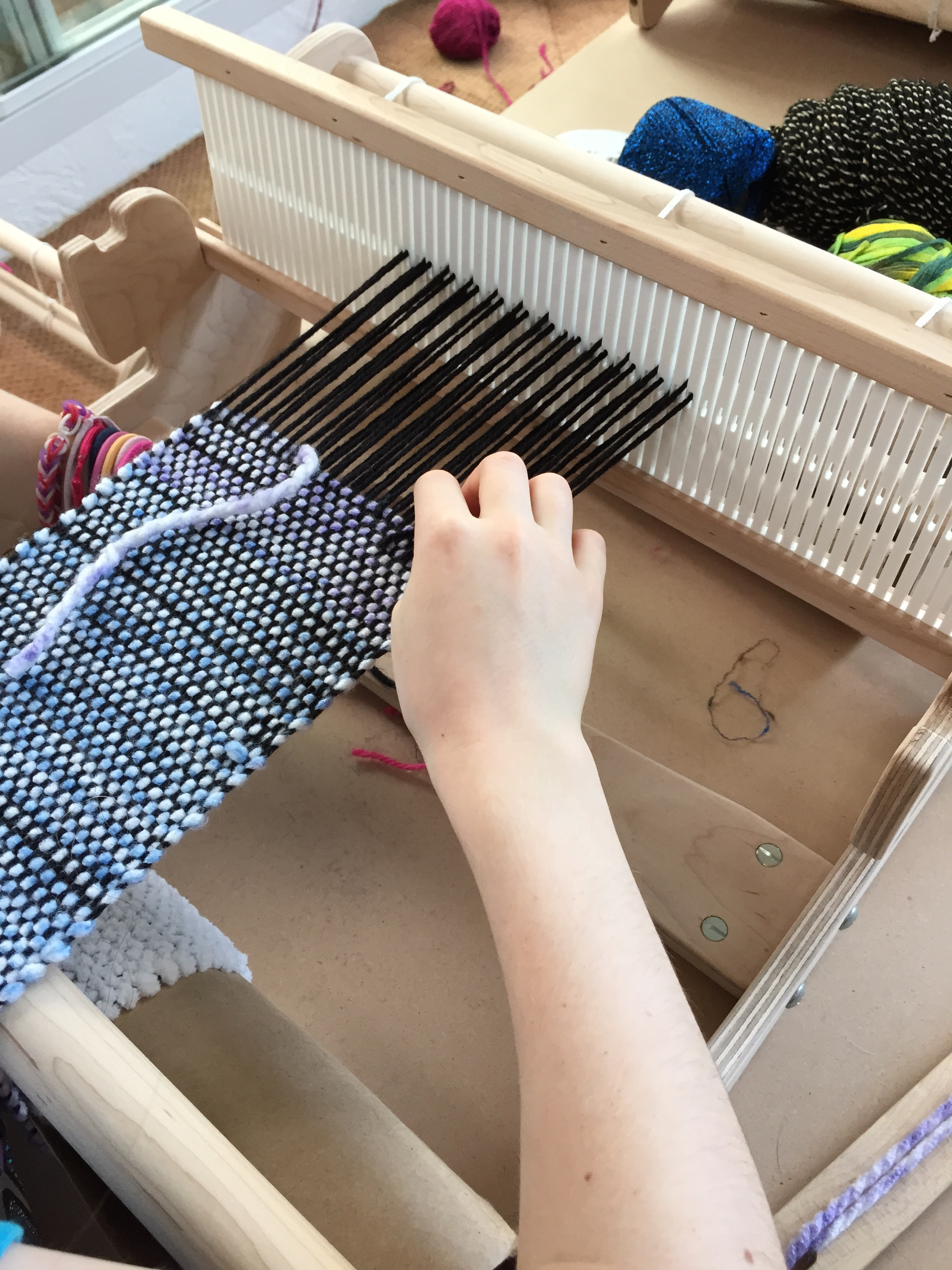 Learning the hemstitch.